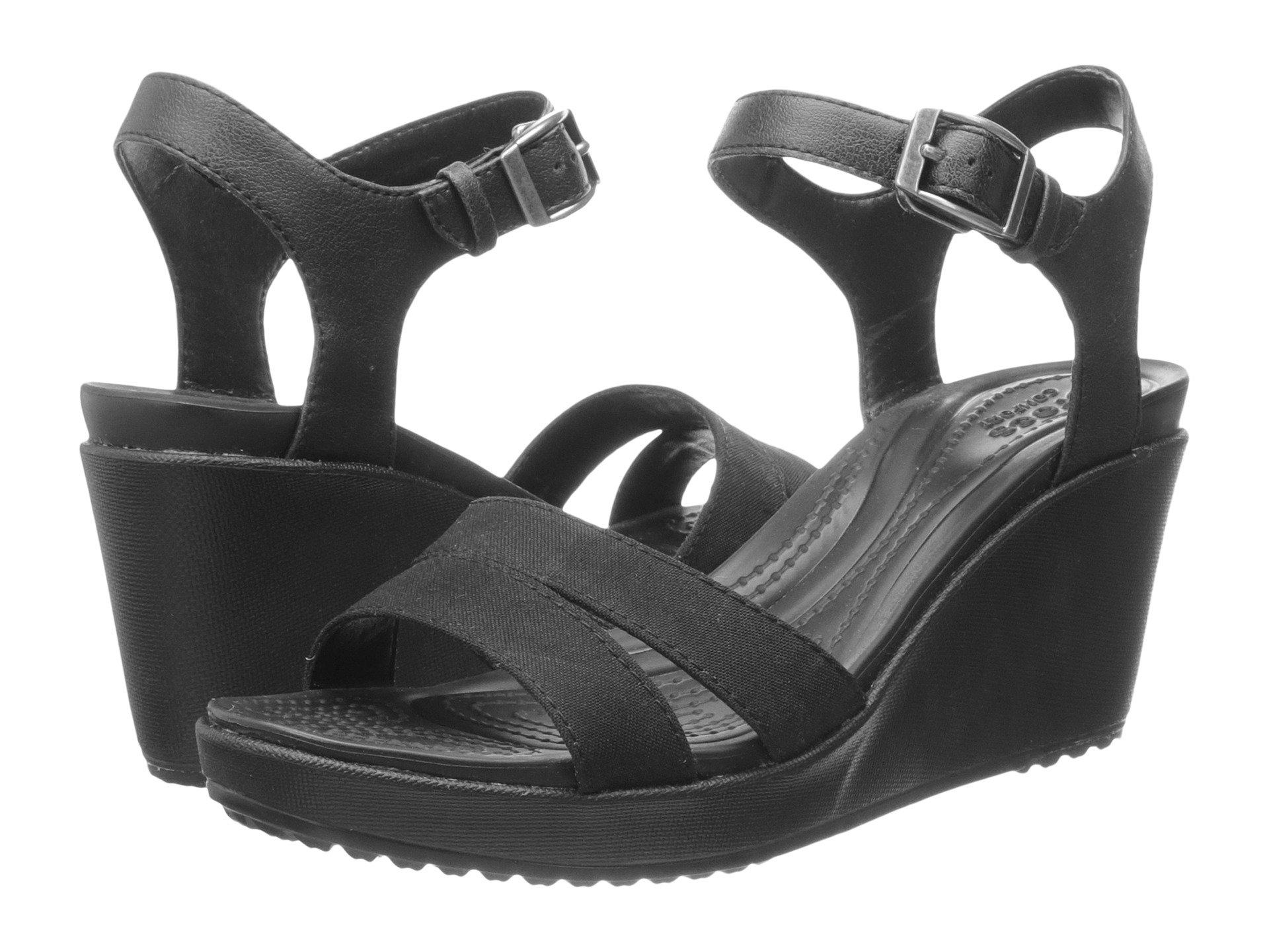 479c04a2082 Lyst - Crocs™ Leigh Ii Ankle Strap Wedge in Black