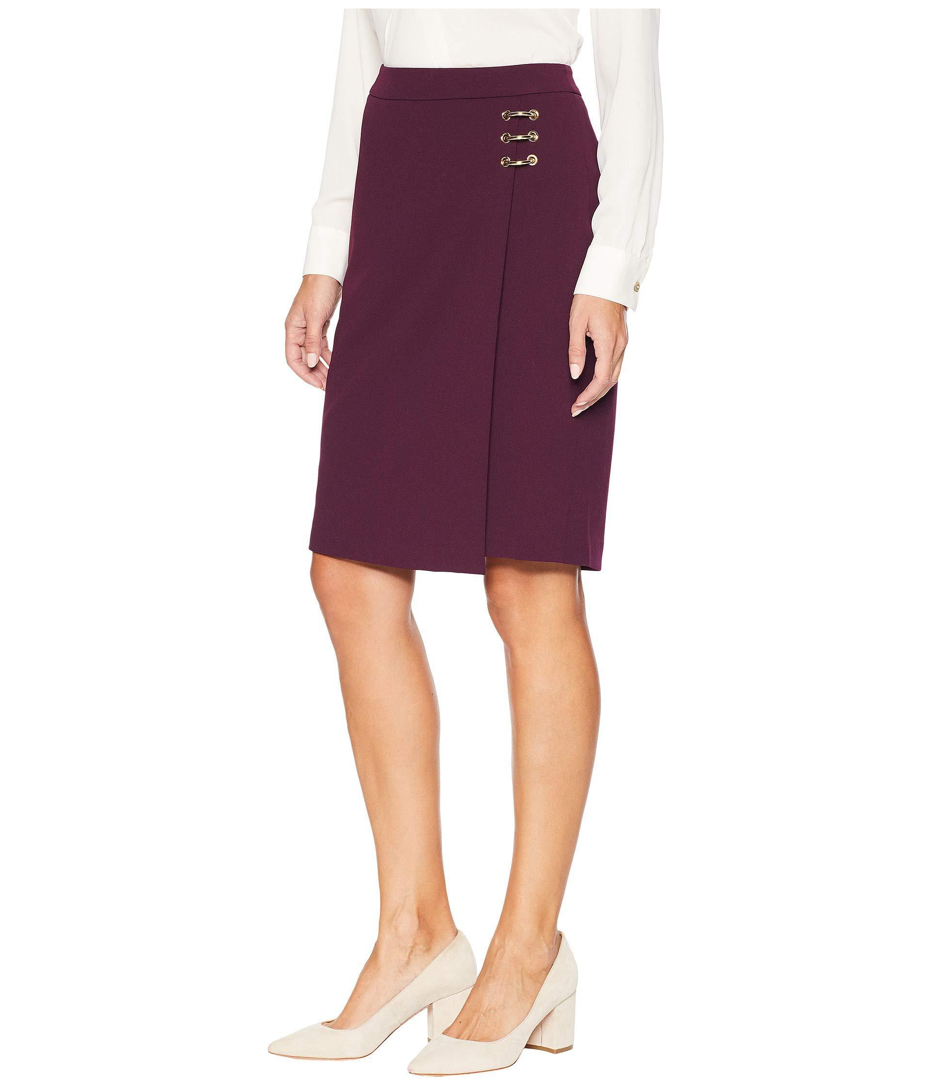 dbf6a207af81 Lyst - Calvin Klein Pencil Skirt W/ Ring Hardware in Purple - Save 29%