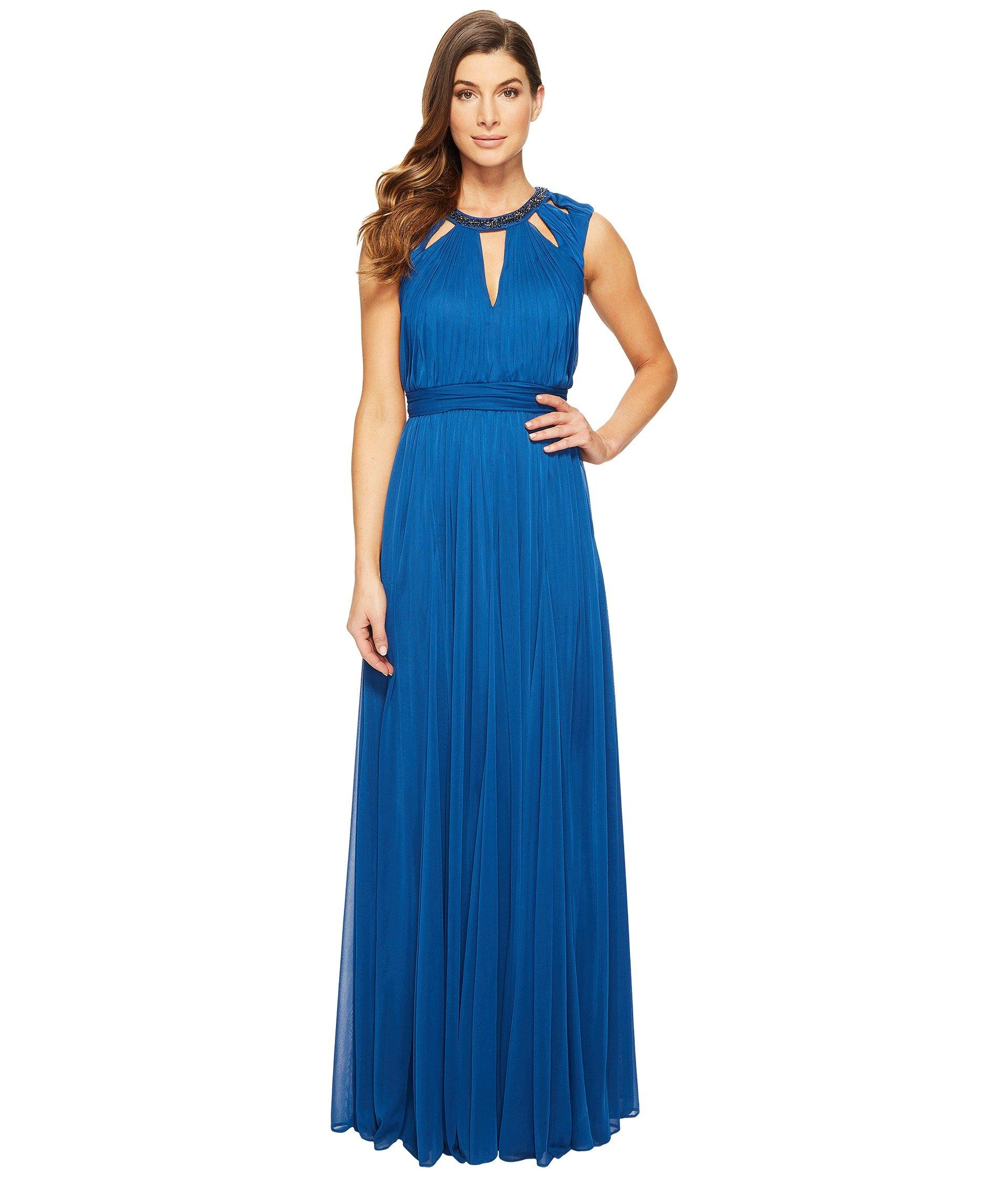 4949cb9ec41 Adrianna Papell Shirred Stretch Tulle Dress With Beaded Necklace ...