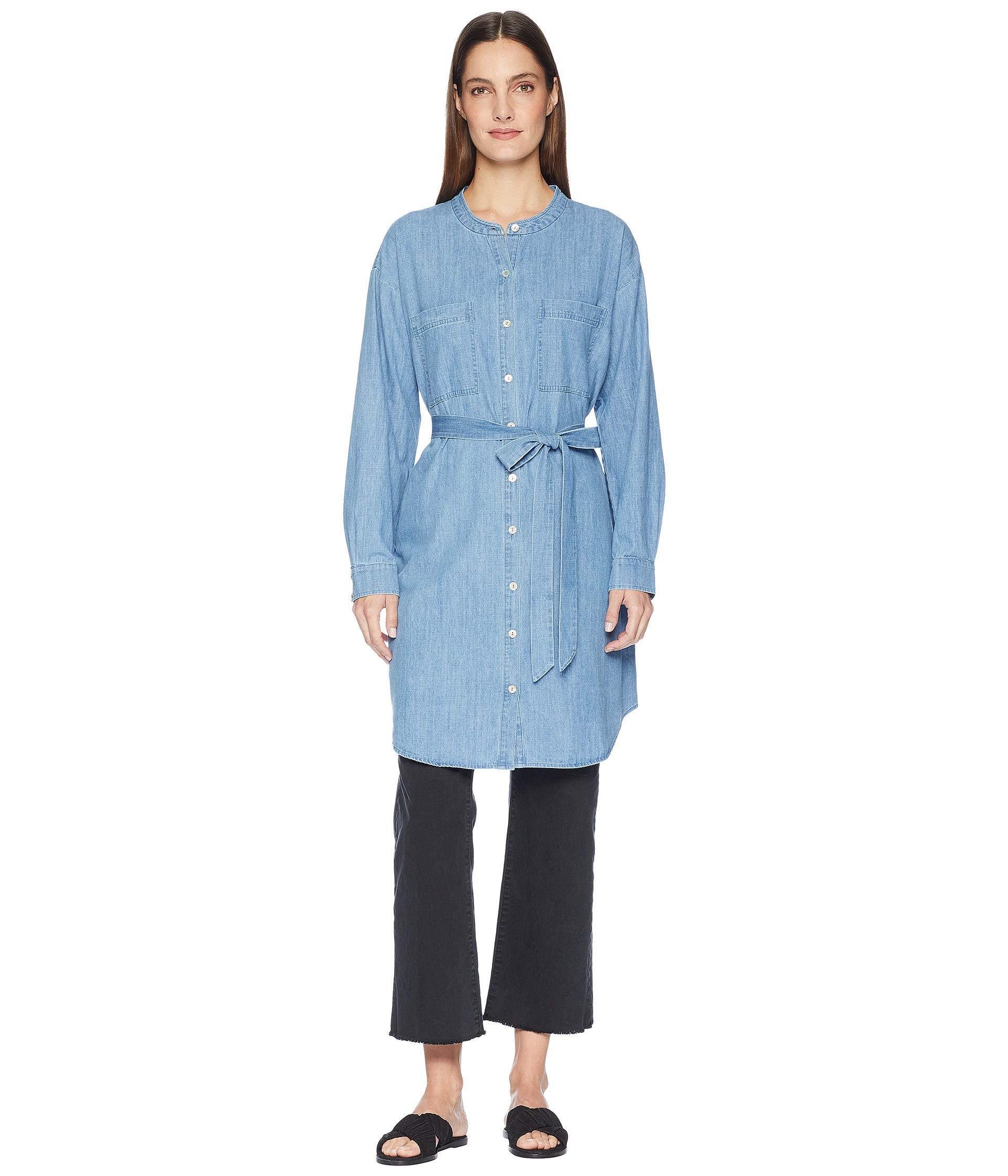 1cc808c83d Lyst - Eileen Fisher Organic Cotton Drapey Denim Mandarin Collar ...