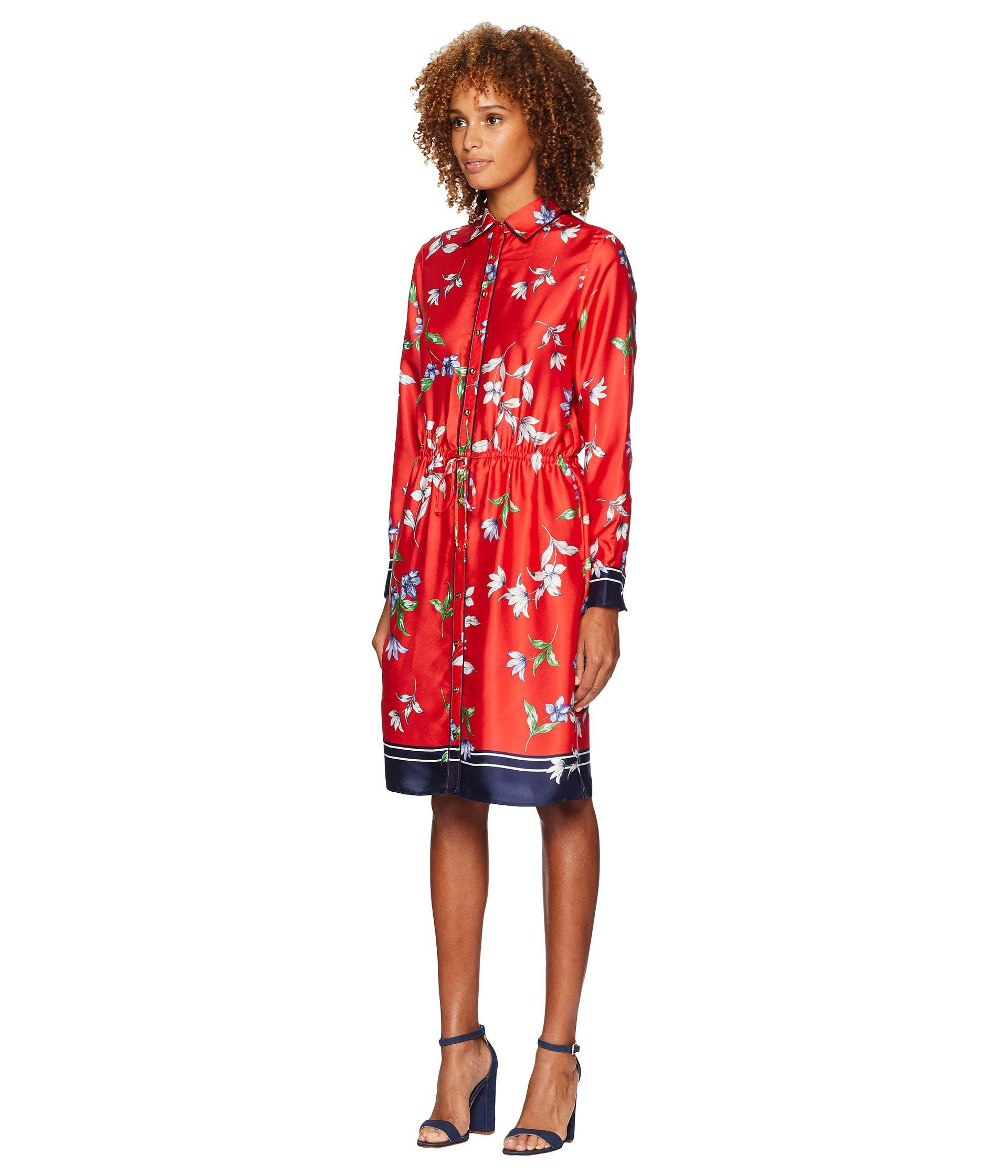 8af8ac15cc589 Lyst - Lauren by Ralph Lauren Floral-print Twill Shirtdress in Red - Save  50%