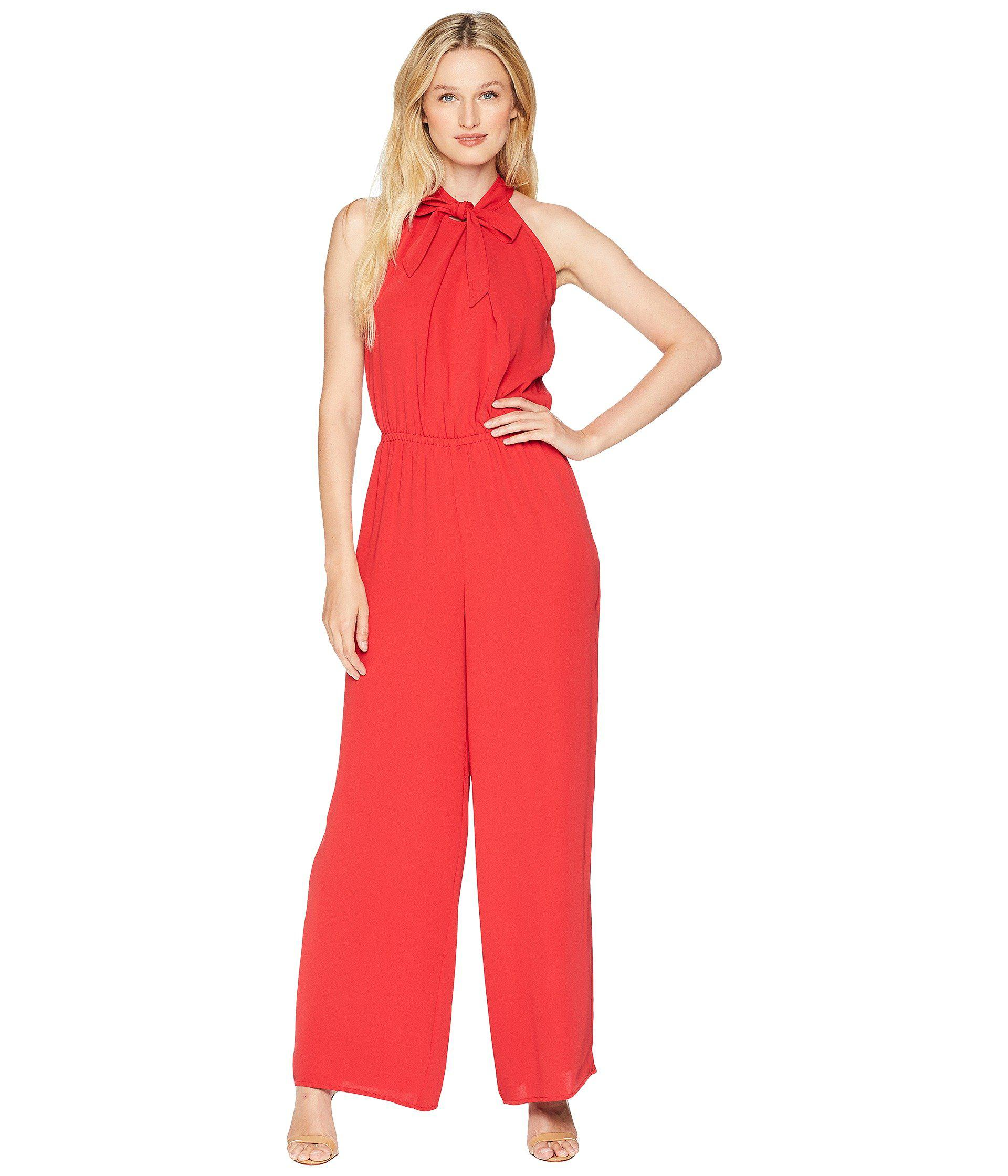 b1a6b91f3d32 Lyst - Cece Tie Neck Crepe Jumpsuit in Red - Save 58%