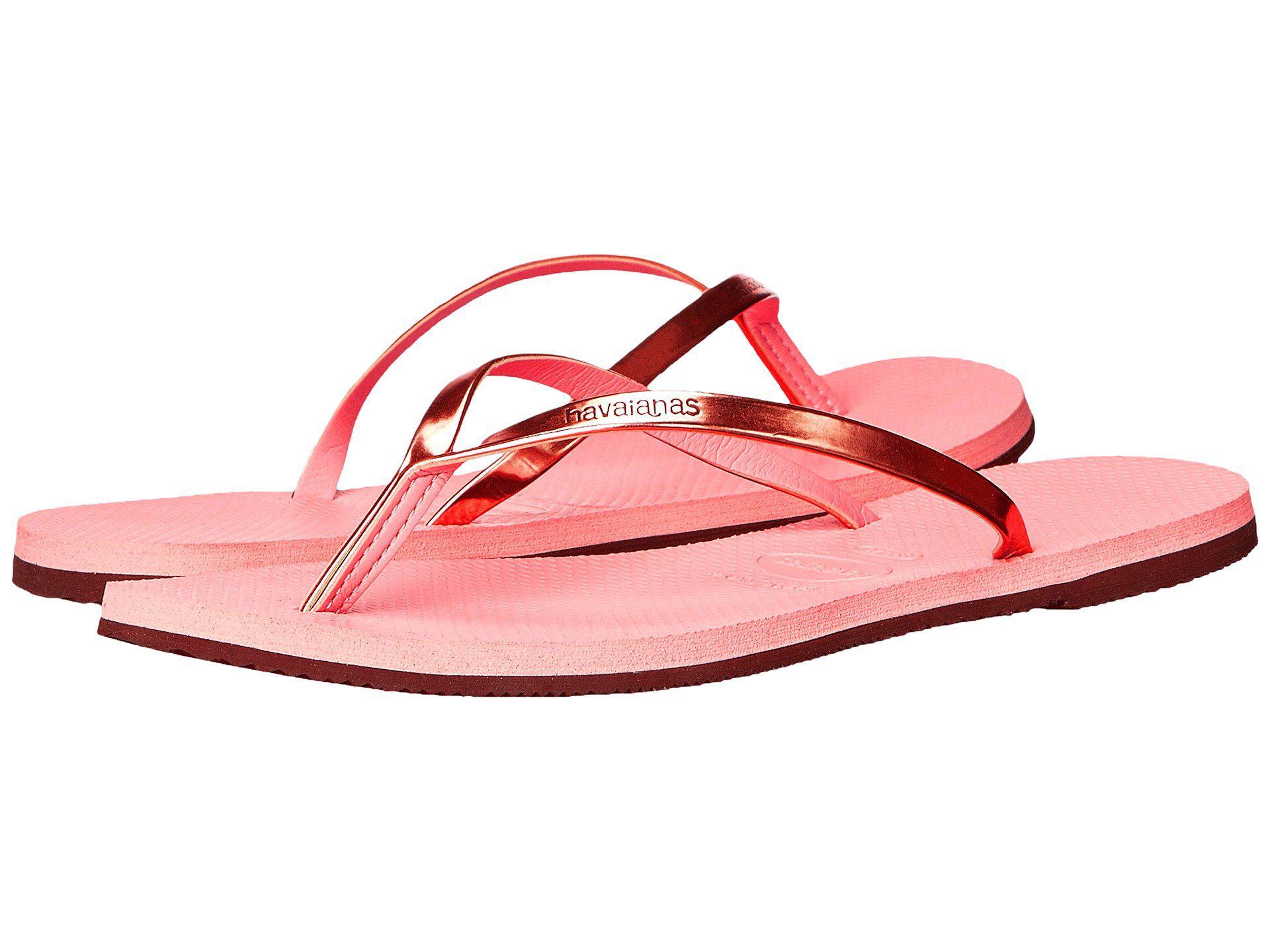 1c8b043e4 Lyst - Havaianas You Metallic Flip Flops in Pink