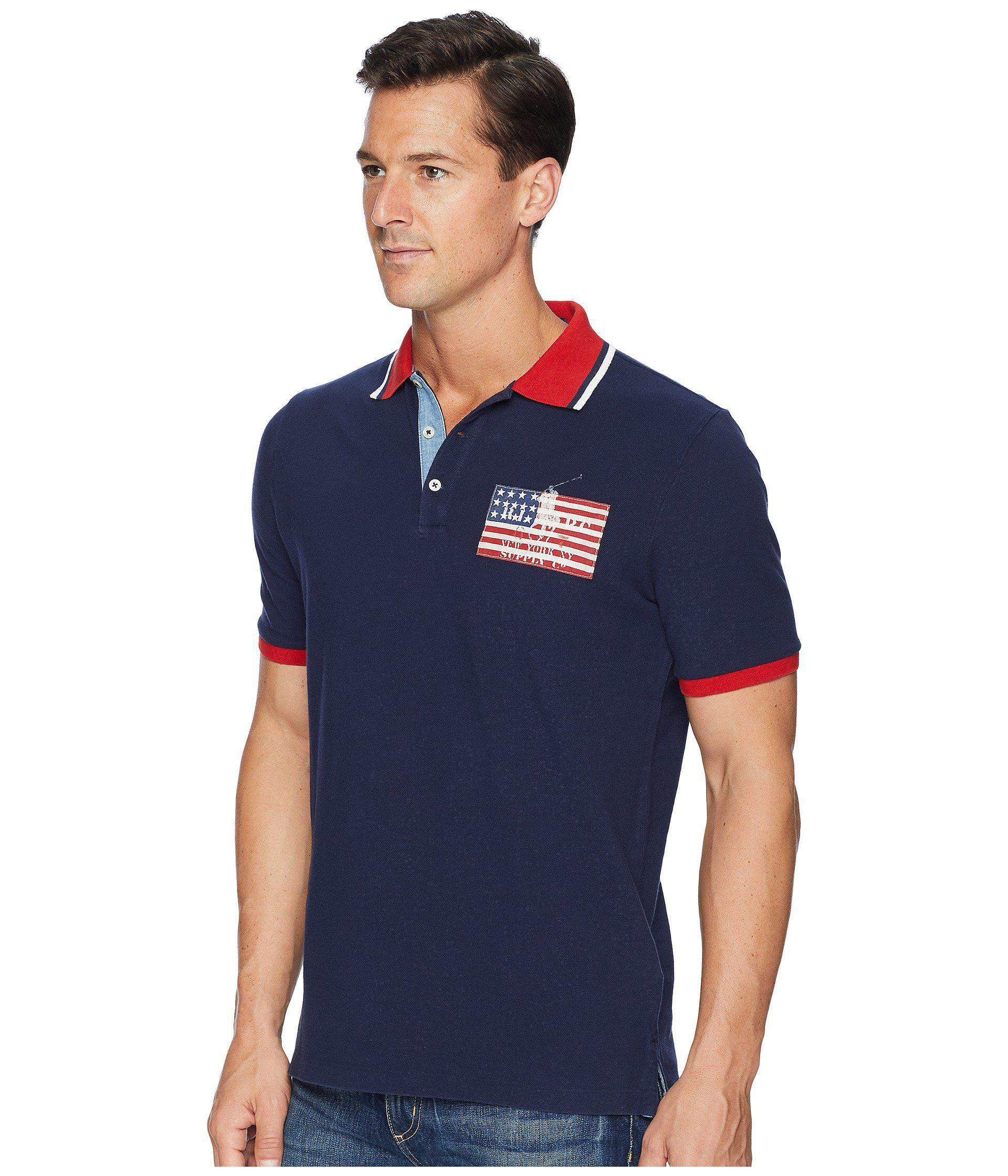 Lyst - Polo Ralph Lauren American Flag Pique Polo in Blue for Men 6cc6d8250ee