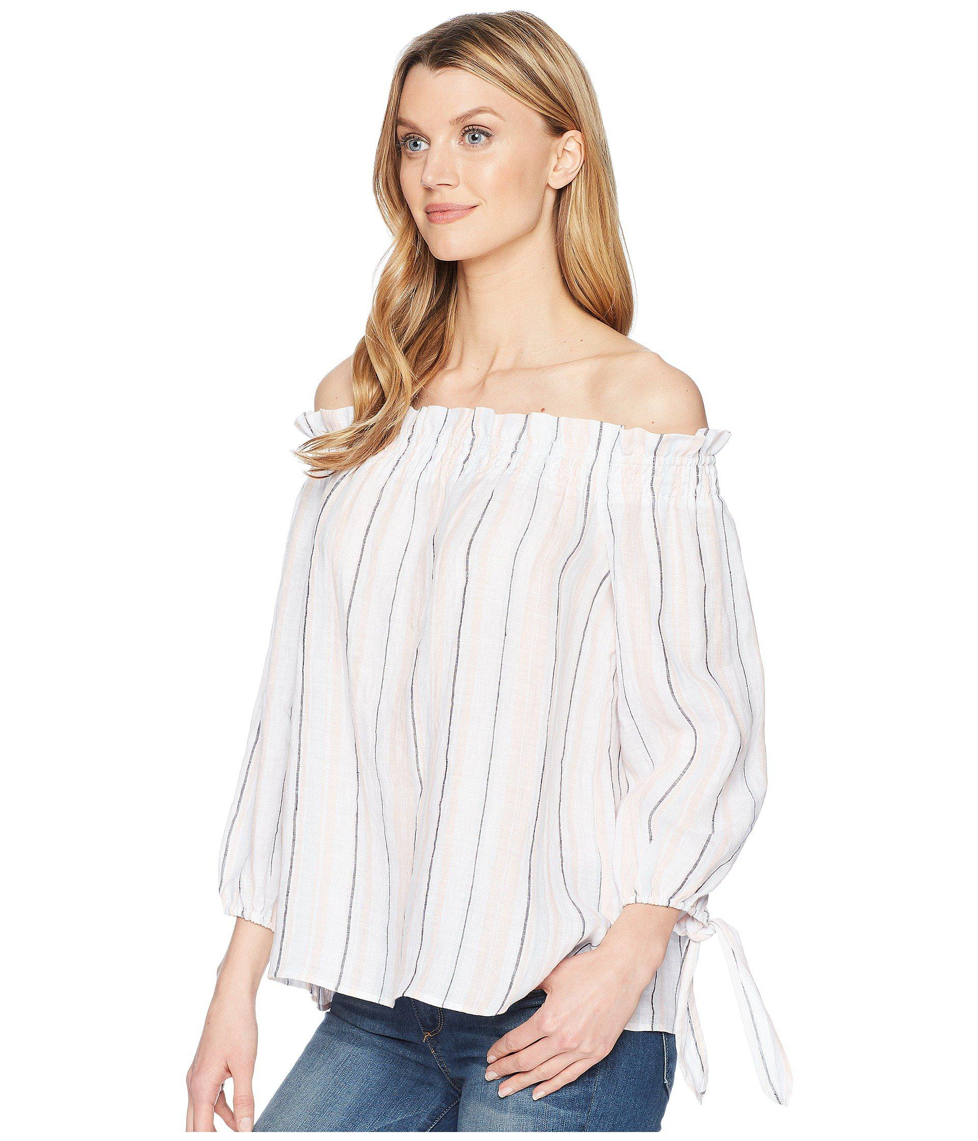 8bd52e3f3fe Lyst - Two By Vince Camuto Long Sleeve Off Shoulder Seashore Stripe Linen  Blouse in White - Save 58%