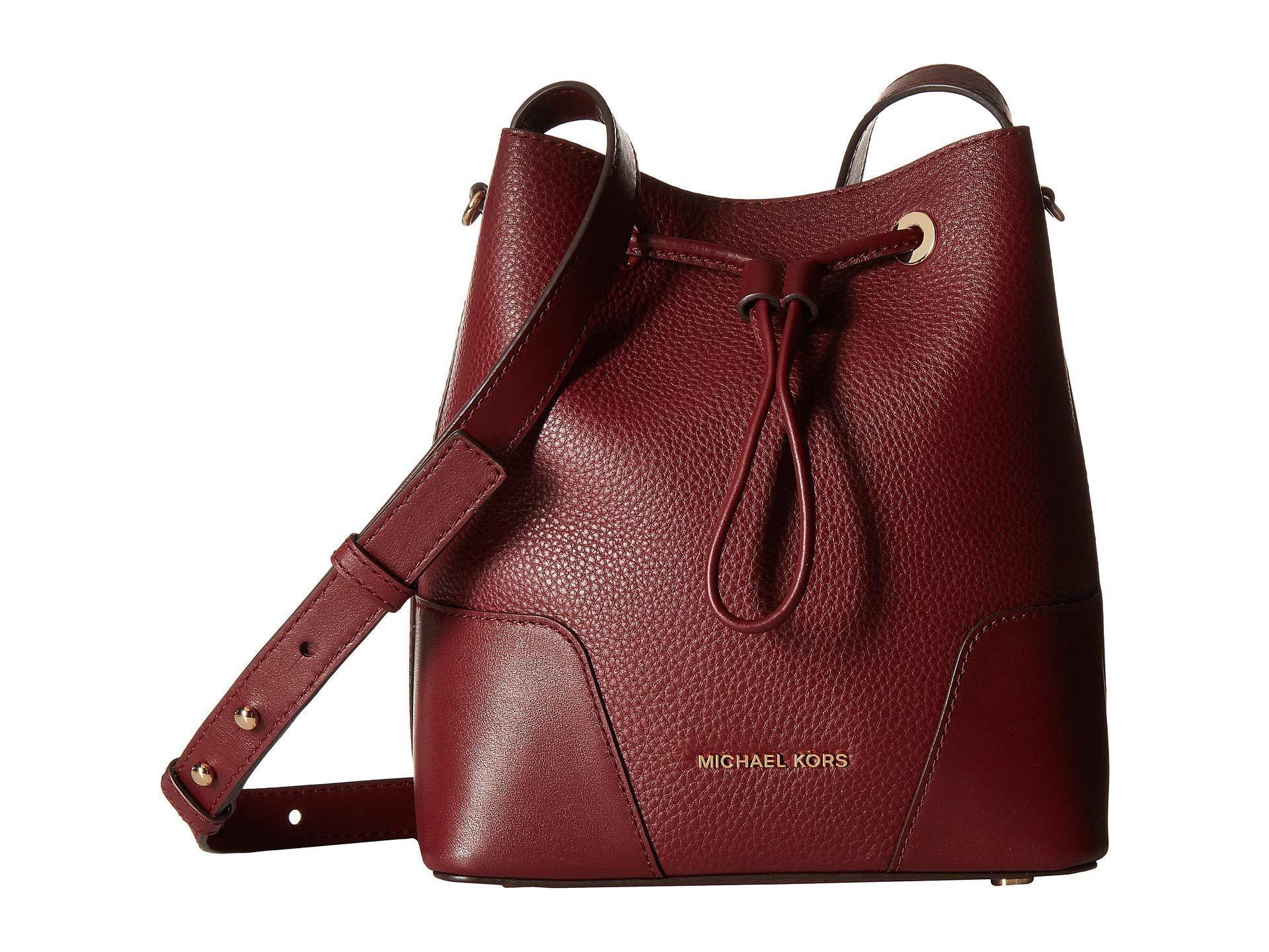 Lyst - MICHAEL Michael Kors Cary Small Bucket Bag in Red 1dfde7f0f8f
