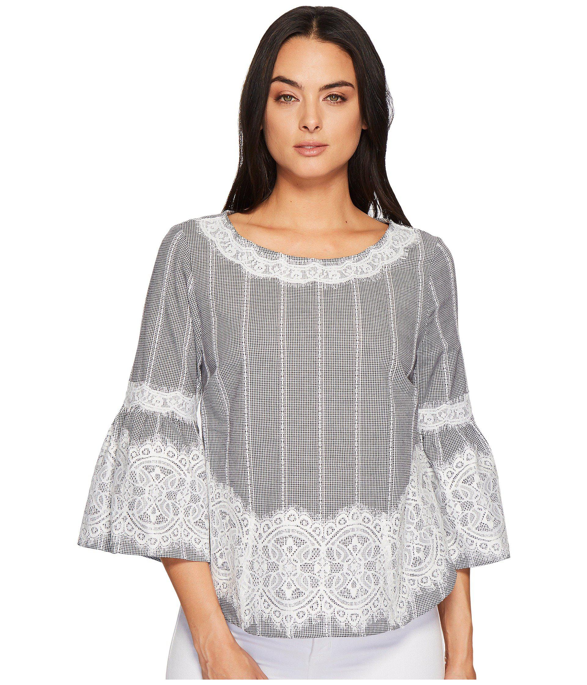 d2cef0a469c54f Lyst - Cece Bell Sleeve Blouse W  Lace Trim in Gray
