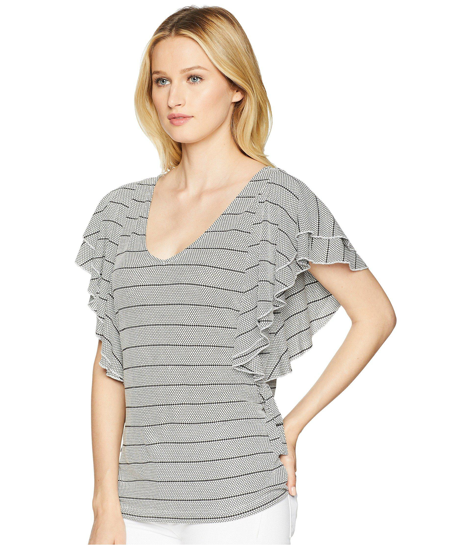 1a9b8453b2a3e5 Lyst - Ivanka Trump Stripe Ruffle Sleeve Scoop Neck Top With Open Hem in  Gray - Save 42.5531914893617%