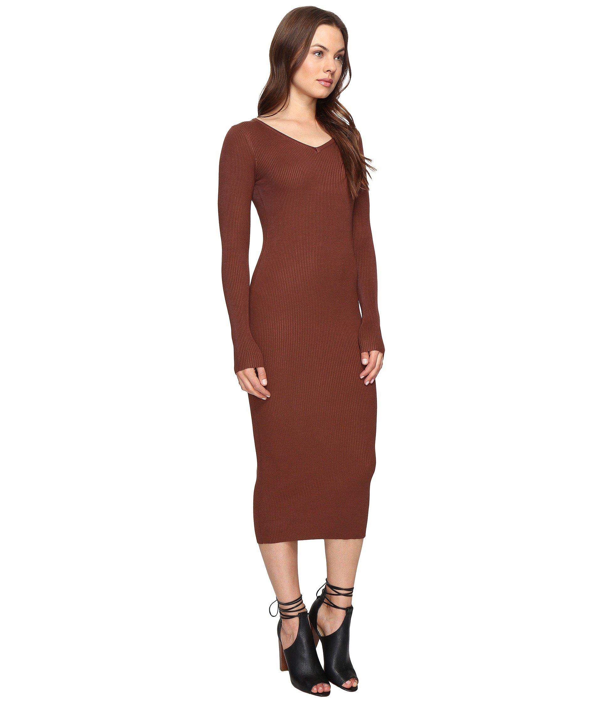 01c68c3a6ee Culture Phit Leah Long Sleeve Ribbed Midi Dress in Brown - Lyst