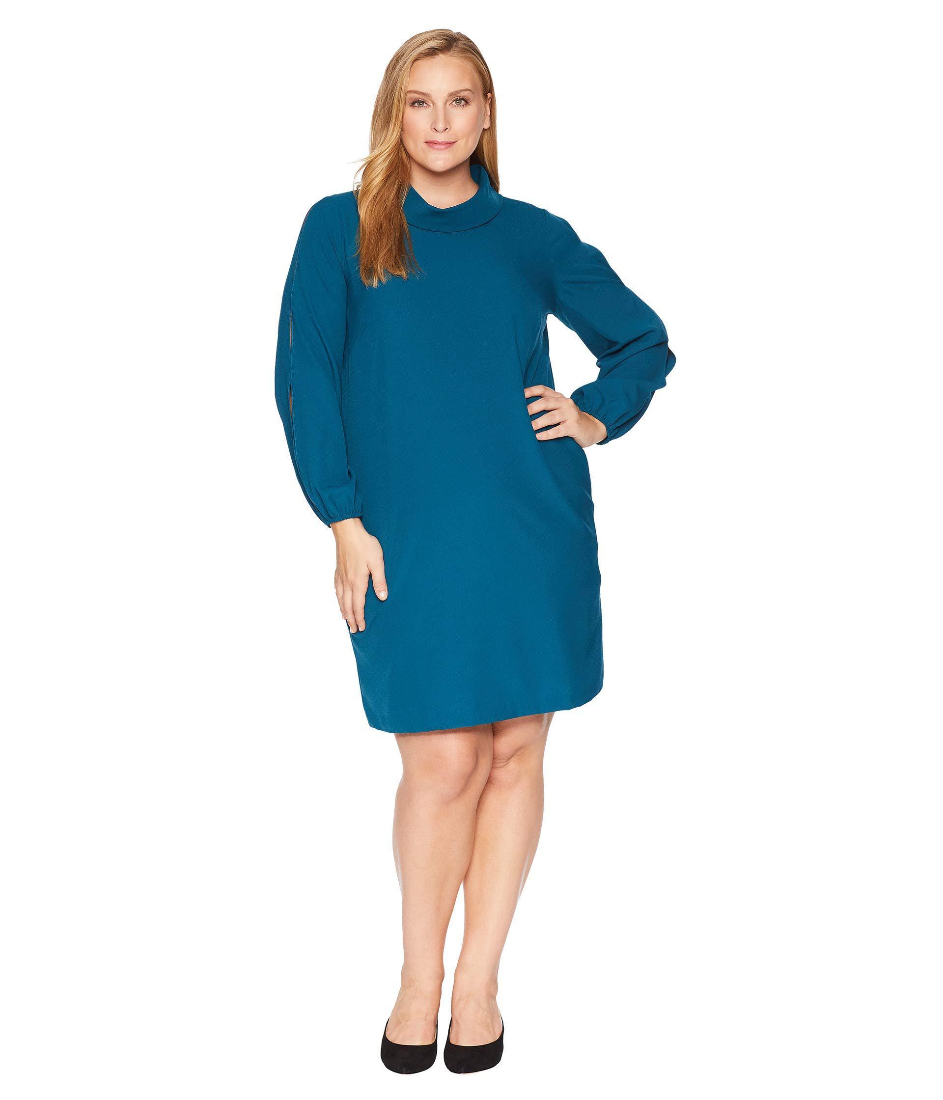 23a9ce44b7175 Tahari. Women's Blue Plus Size Long Split Sleeve Crepe Shift With Roll  Neckline