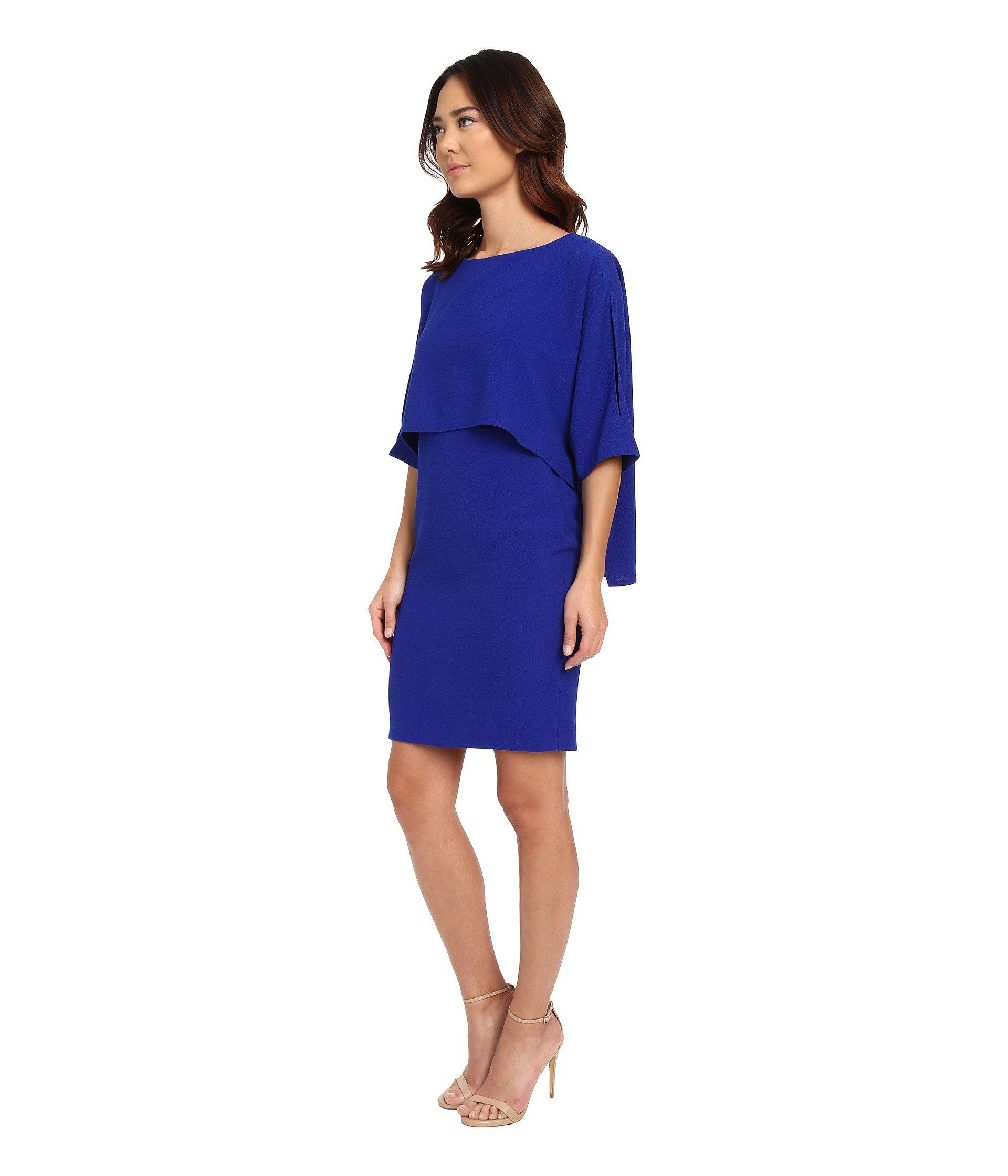 ba7dd45c Adrianna Papell Draped Blouson Sheath Dress in Blue - Lyst