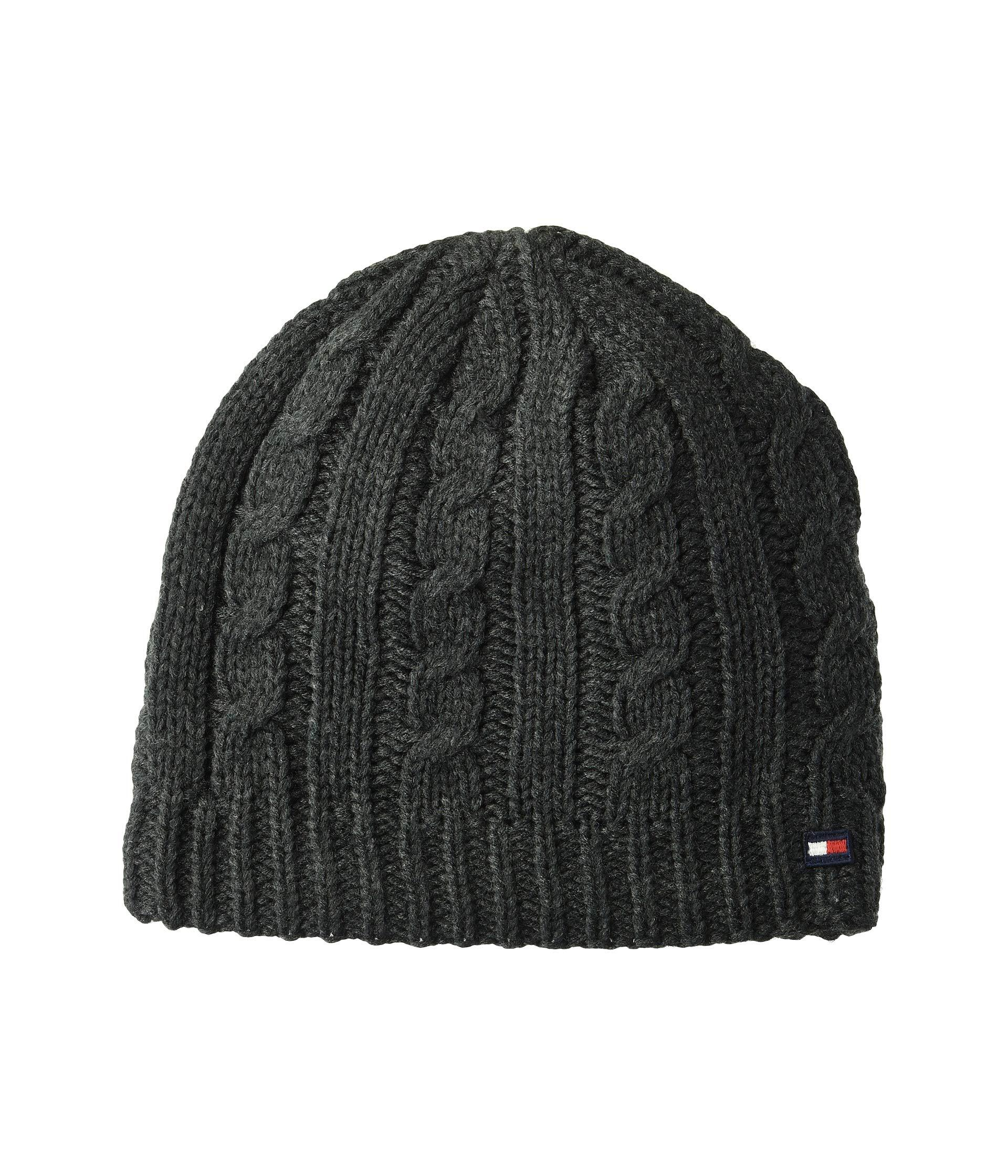 df308c75a Lyst - Tommy Hilfiger Chunky Fleece Lined Cable Hat in Gray for Men