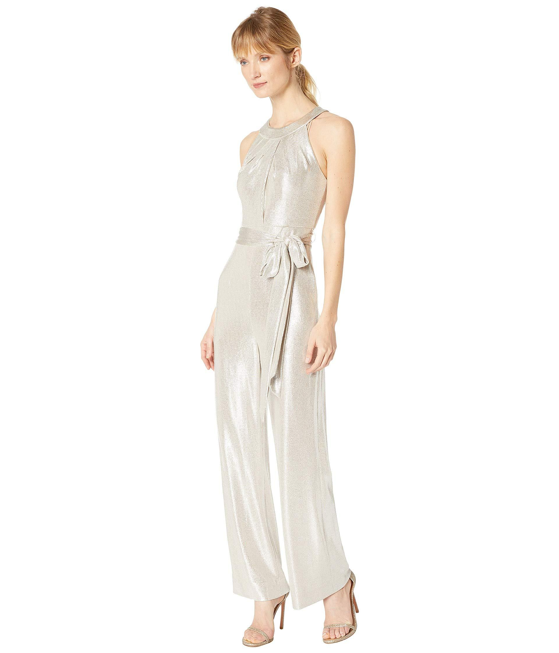 7ca603852623 Lyst - Tahari Sleeveless Foil Knit Jumpsuit in White - Save 16%