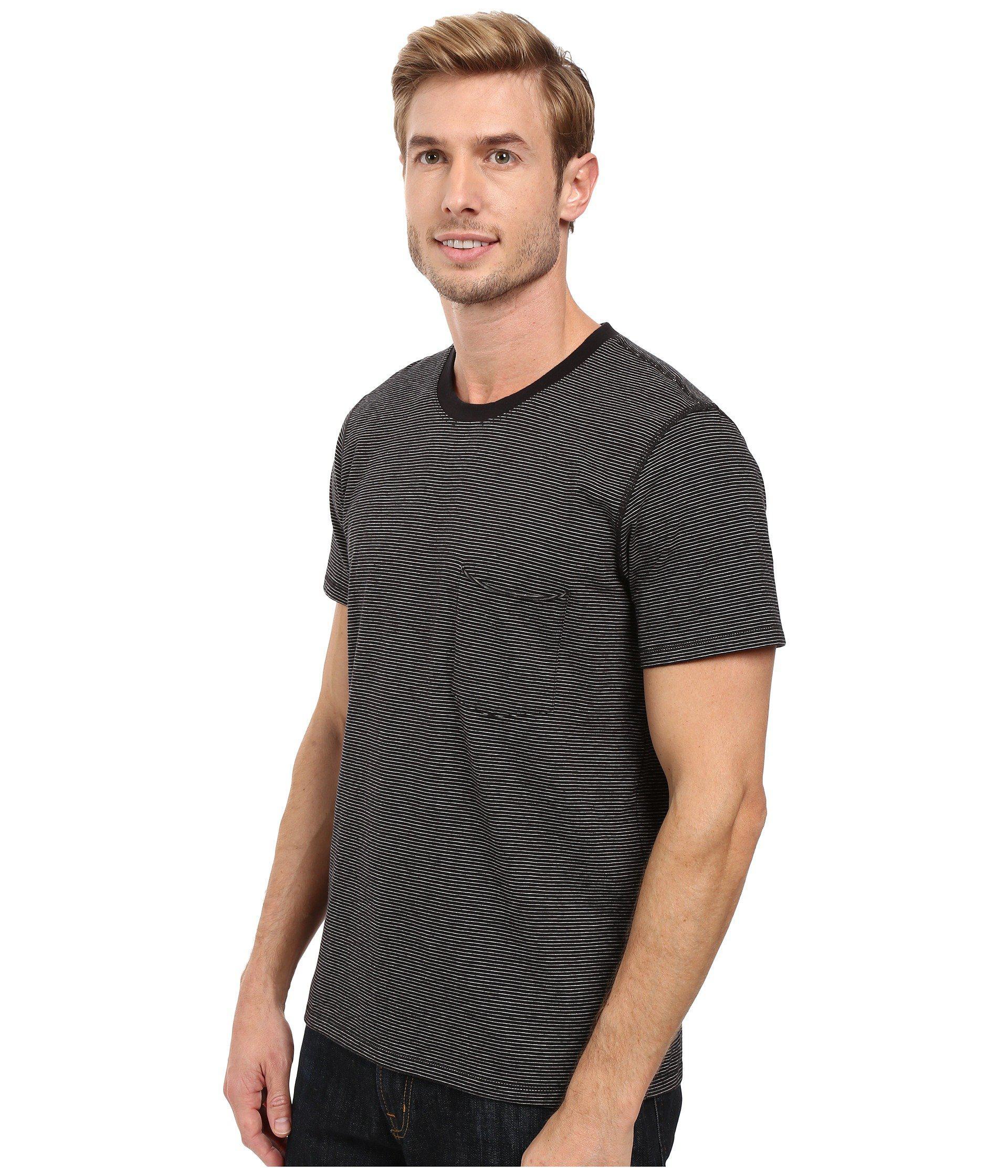 8290da676c Lyst - 7 For All Mankind Short Sleeve Stripe Ringer Tee in Black for Men