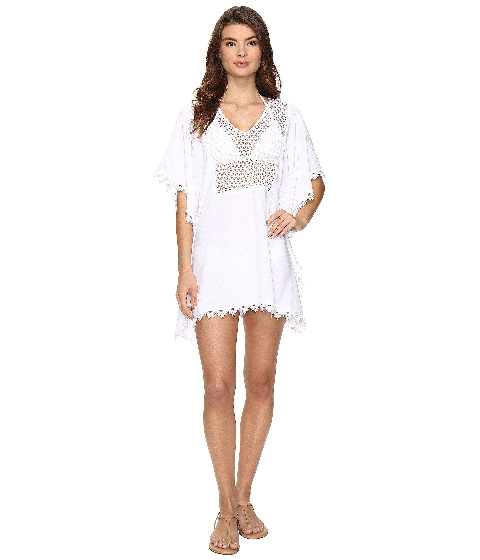 dfa7dfb524aa Lyst - Seafolly Lace Insert Kaftan Cover-up in White
