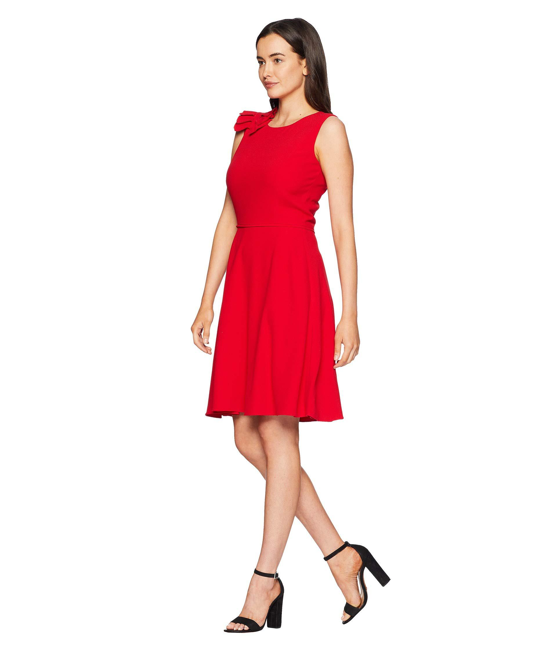 a02baa894a2c Lyst - Tahari Sleeveless Scoop Neck Fit & Flare Dress in Red