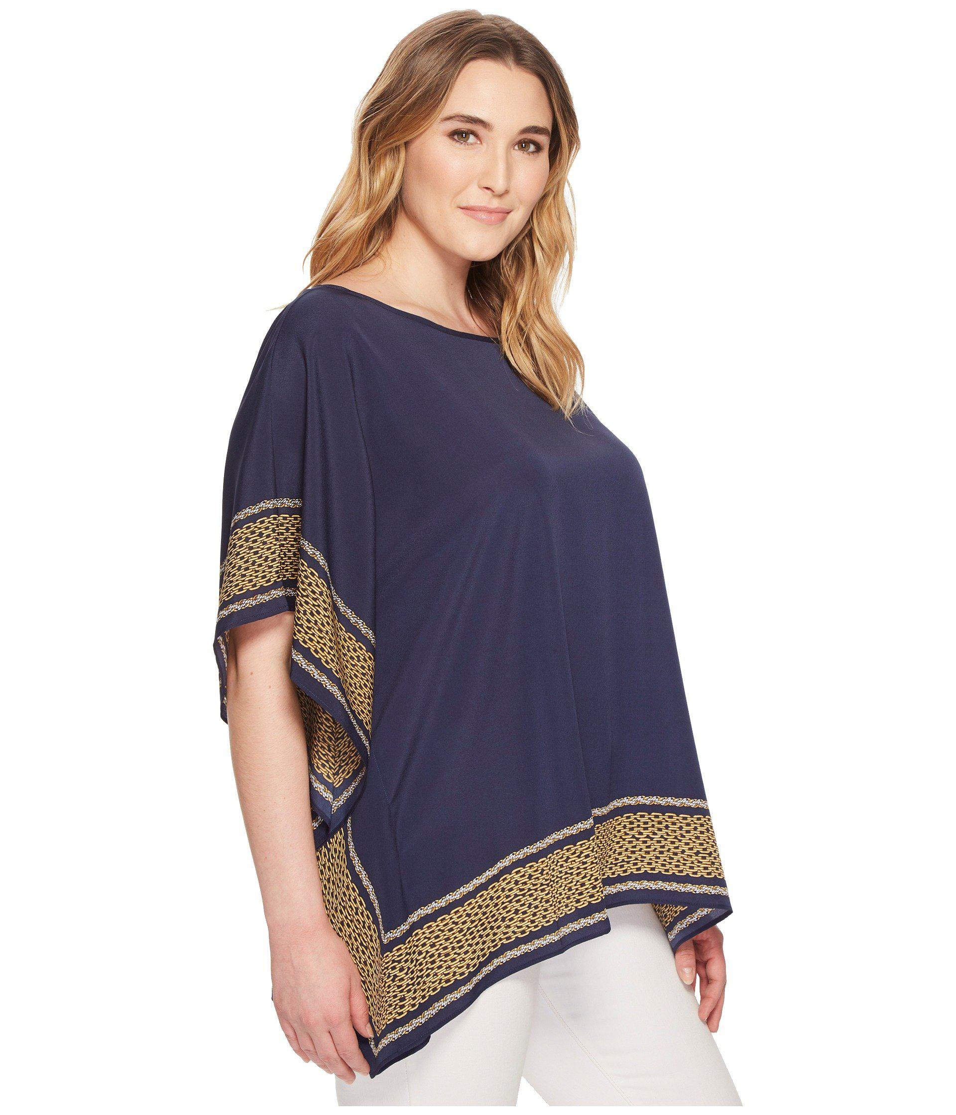 3a7d792801802 Lyst - MICHAEL Michael Kors Plus Size Box Links Scarf Top in Blue
