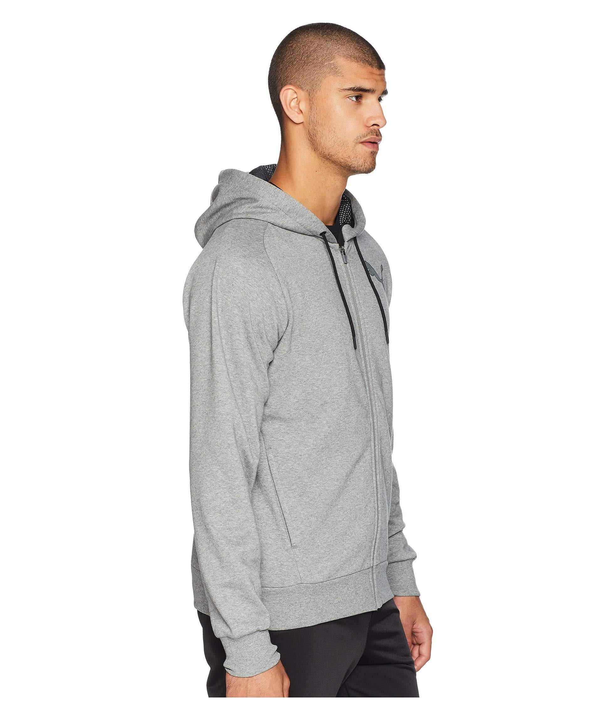23aa757611fe PUMA - Gray P48 Modern Sport Full Zip Fleece Hoodie for Men - Lyst. View  fullscreen