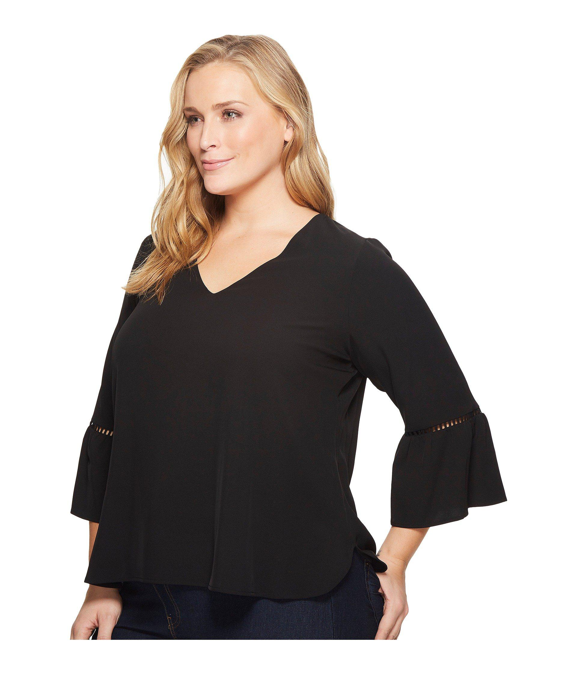 68b01489bc124d Lyst - Calvin Klein Plus Size Bell Sleeve W  Lace Detail in Black ...