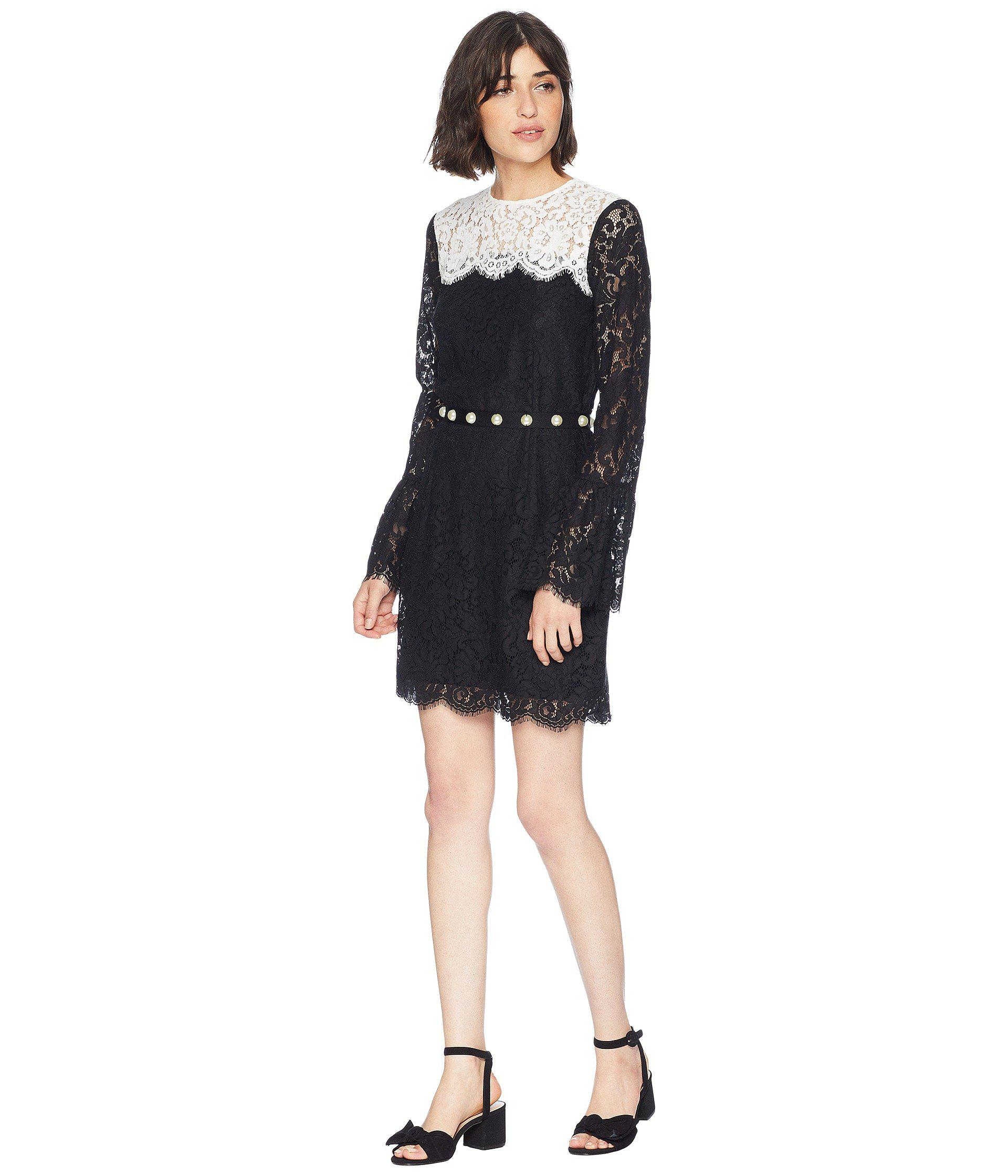 debcb93f5d Lyst - Juicy Couture Color Block Lace Bell Sleeve Dress in Black ...
