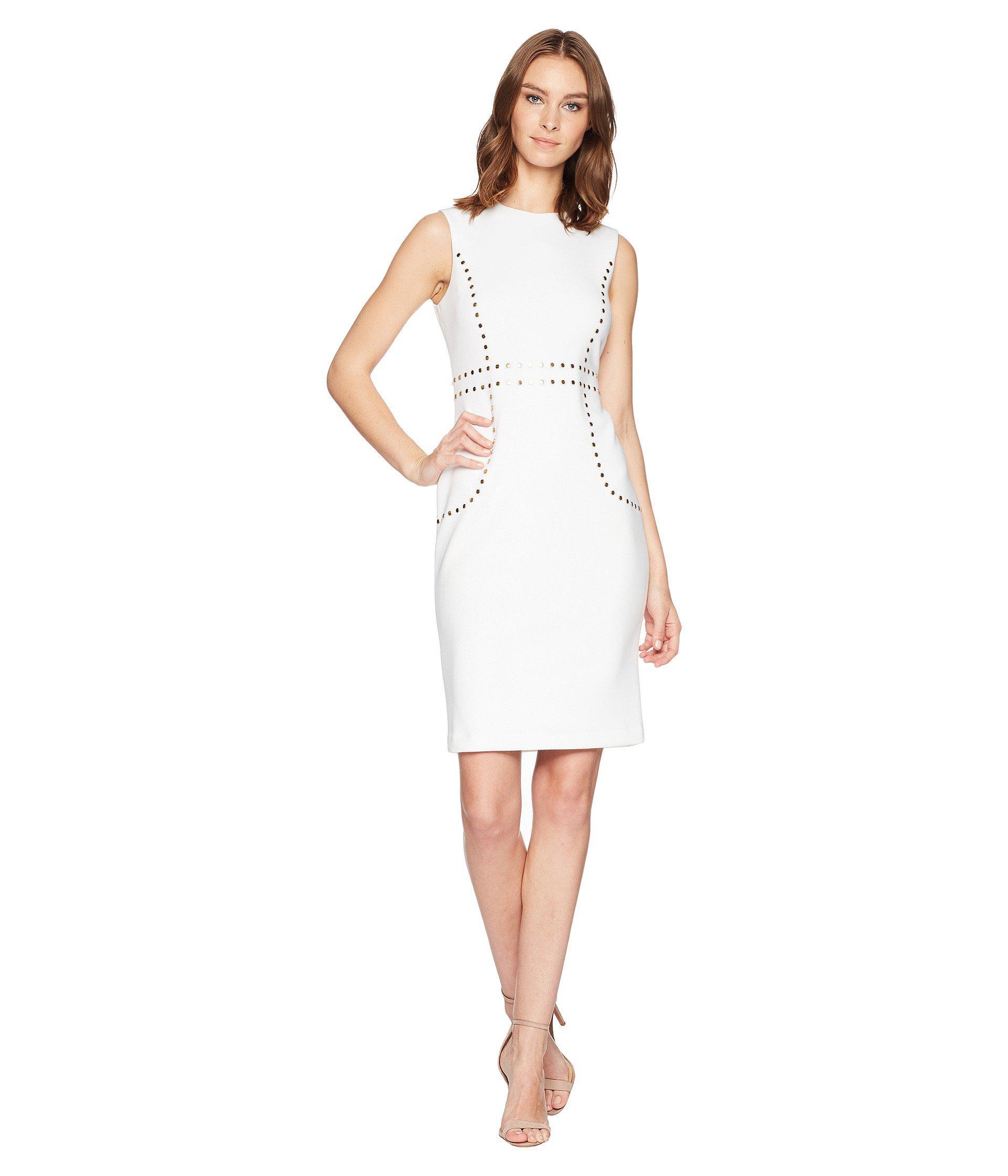 5470fc38c35a Calvin Klein Embellishment Detail Sheath Dress Cd8m15lk in White - Lyst