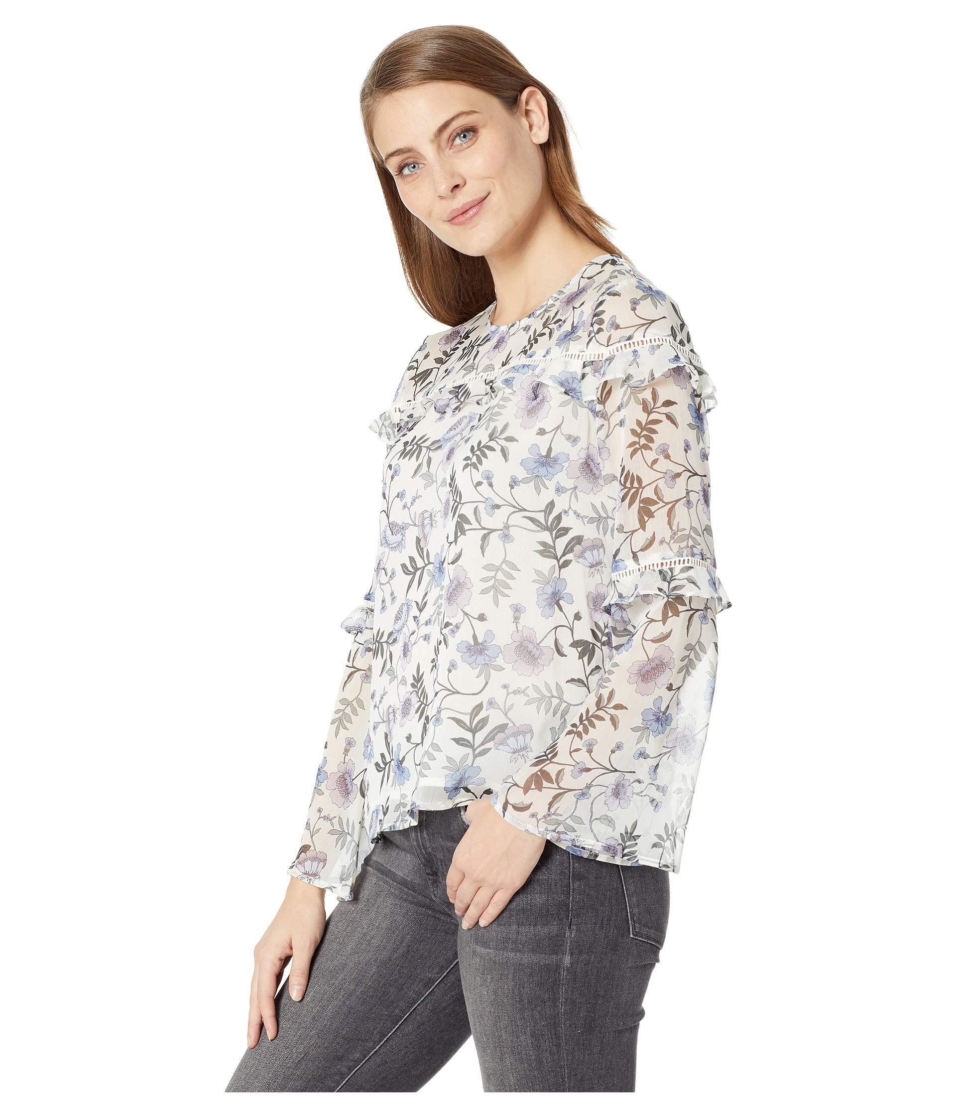 573ccc32355 Lyst - Cece Long Sleeve Tiered Ruffle Bloomsbury Floral Blouse in White -  Save 35%