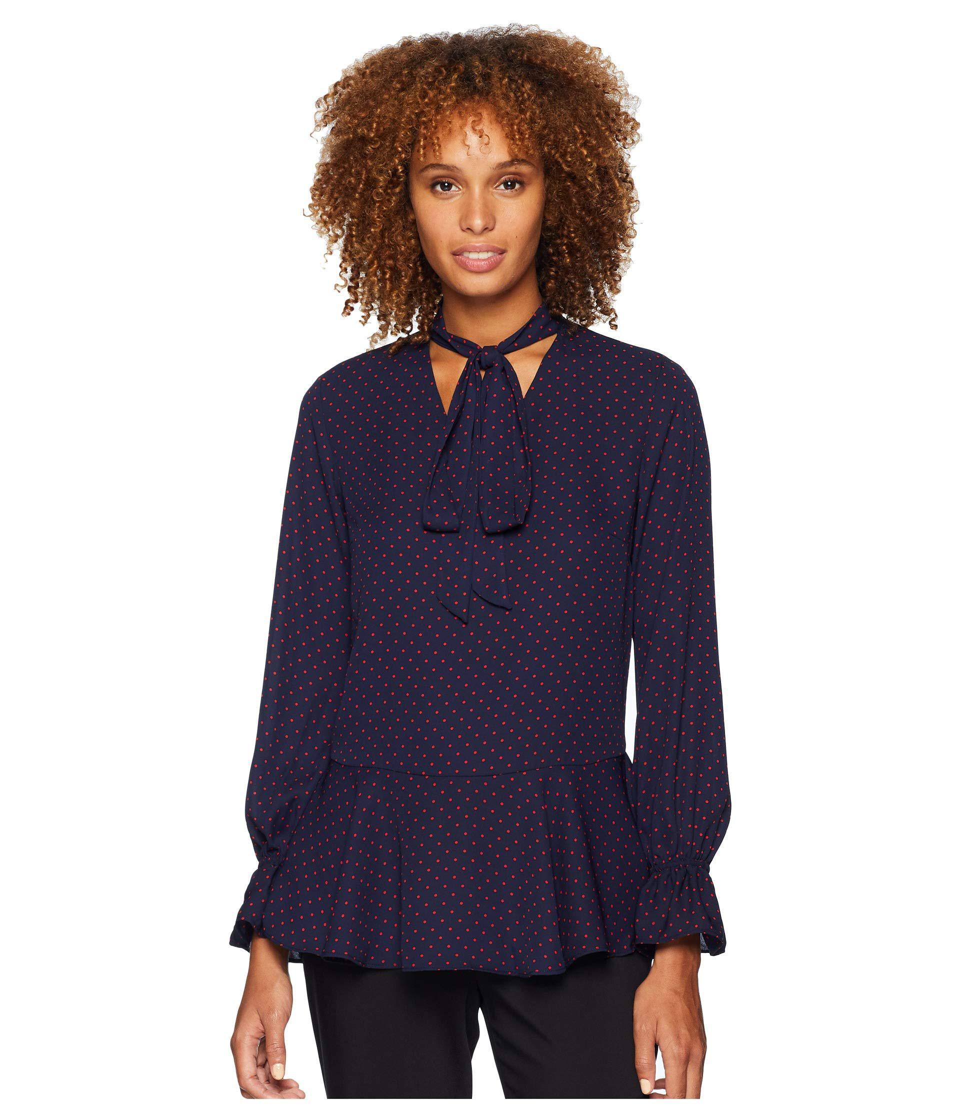 a6bee2a44de50 Lyst - Lauren by Ralph Lauren Tie Neck Georgette Top in Blue - Save 58%