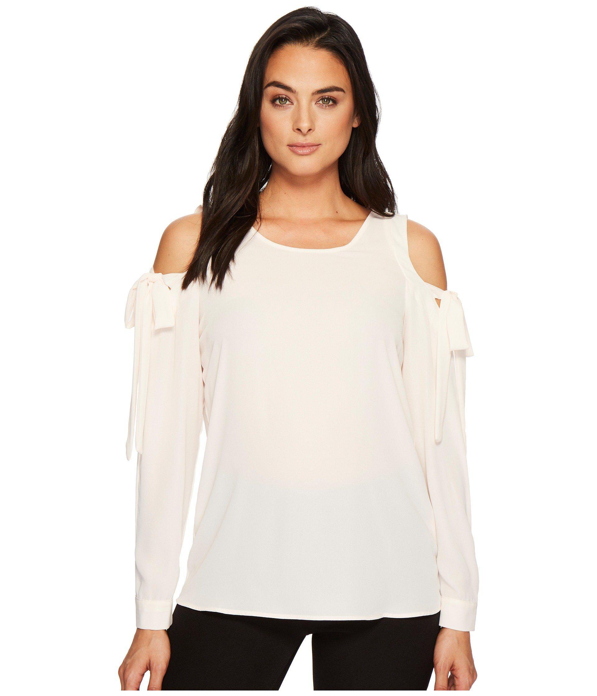 6b018ba97d479 Lyst - Ivanka Trump Woven Cold Shoulder Tie Sleeve Blouse - Save 45%