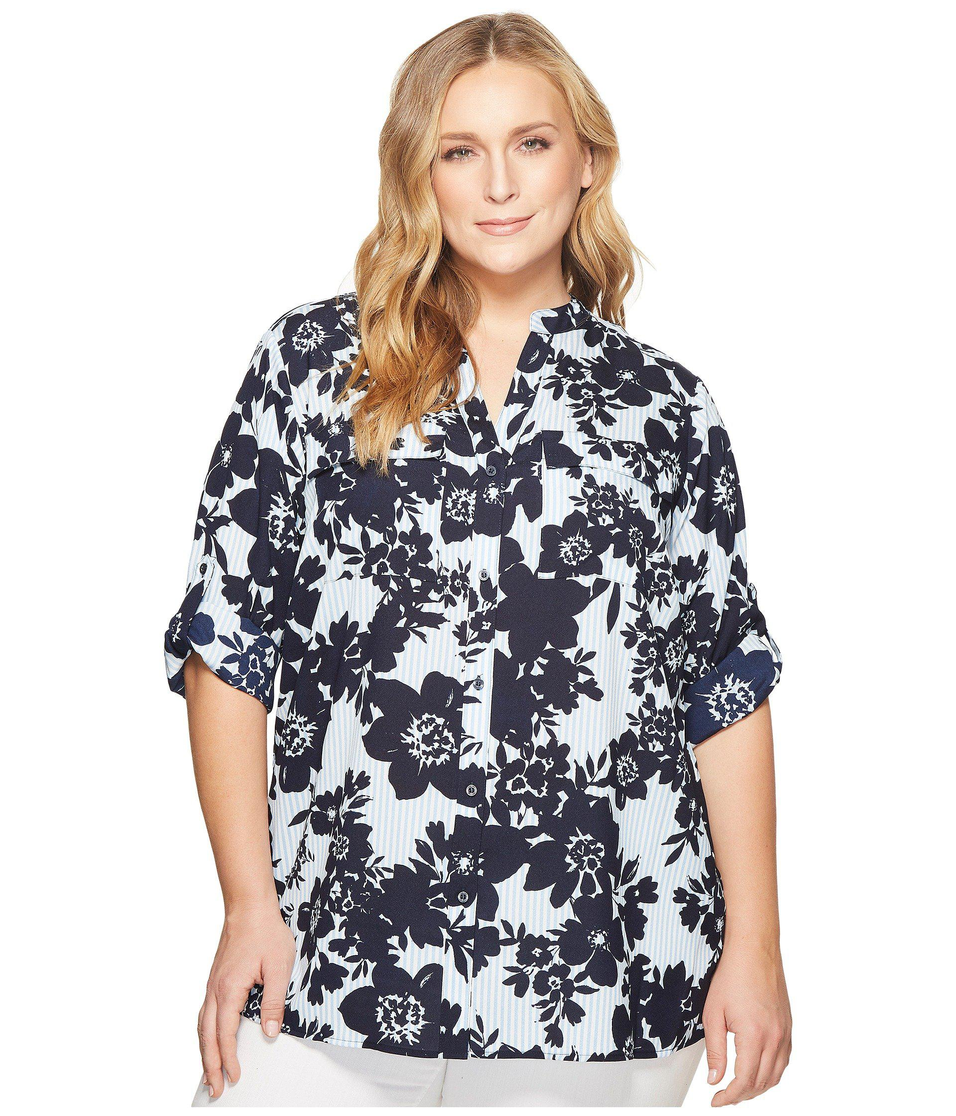 aa30eb924d3 Lyst - Calvin Klein Plus Size Printed Roll Sleeve Blouse in Blue ...