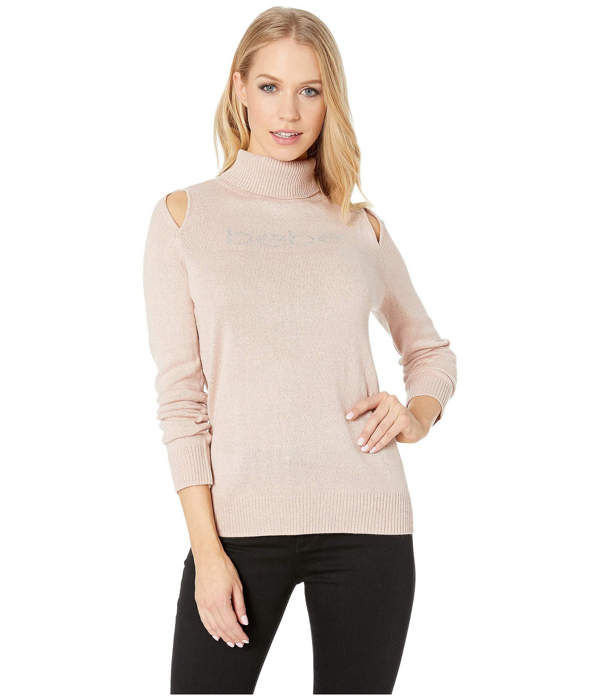 aa0e945a1d Lyst - Bebe Cut Out Shoulder Turtleneck Sweater in Natural