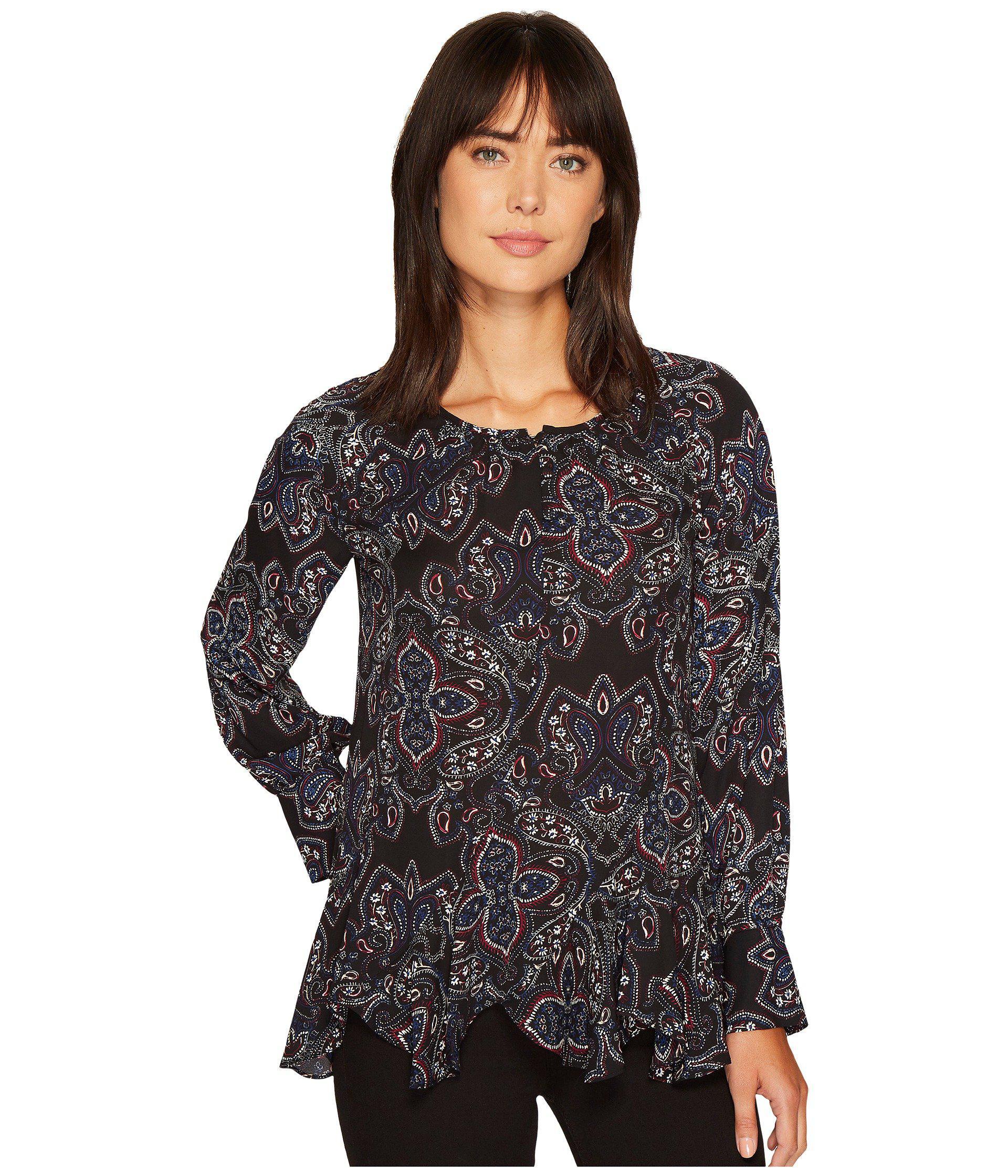 68a04601e08e9 Lyst - Ivanka Trump Printed Woven Long Sleeve Blouse in Black - Save 51%