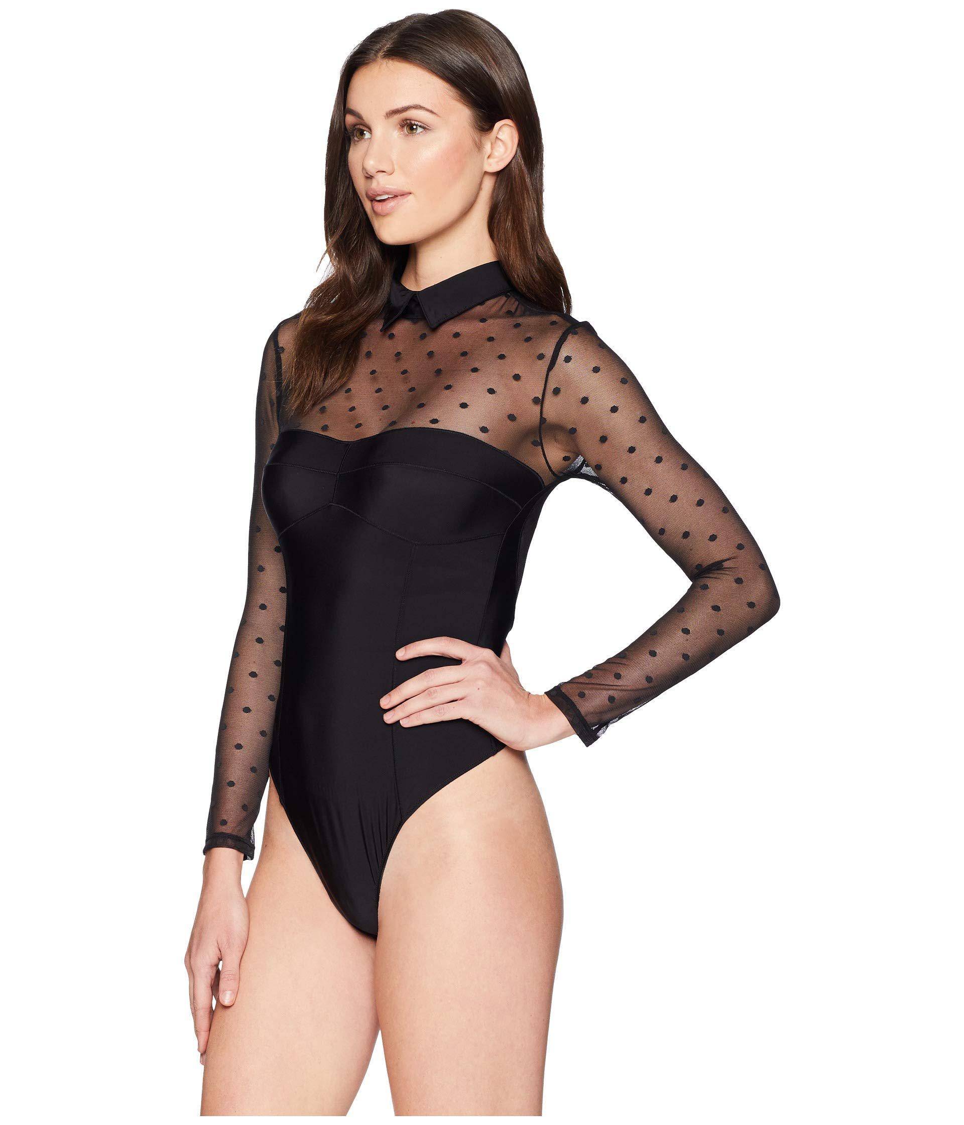 Lyst - Felina Belinda Point D esprit Thong Bodysuit in Black e28458c77