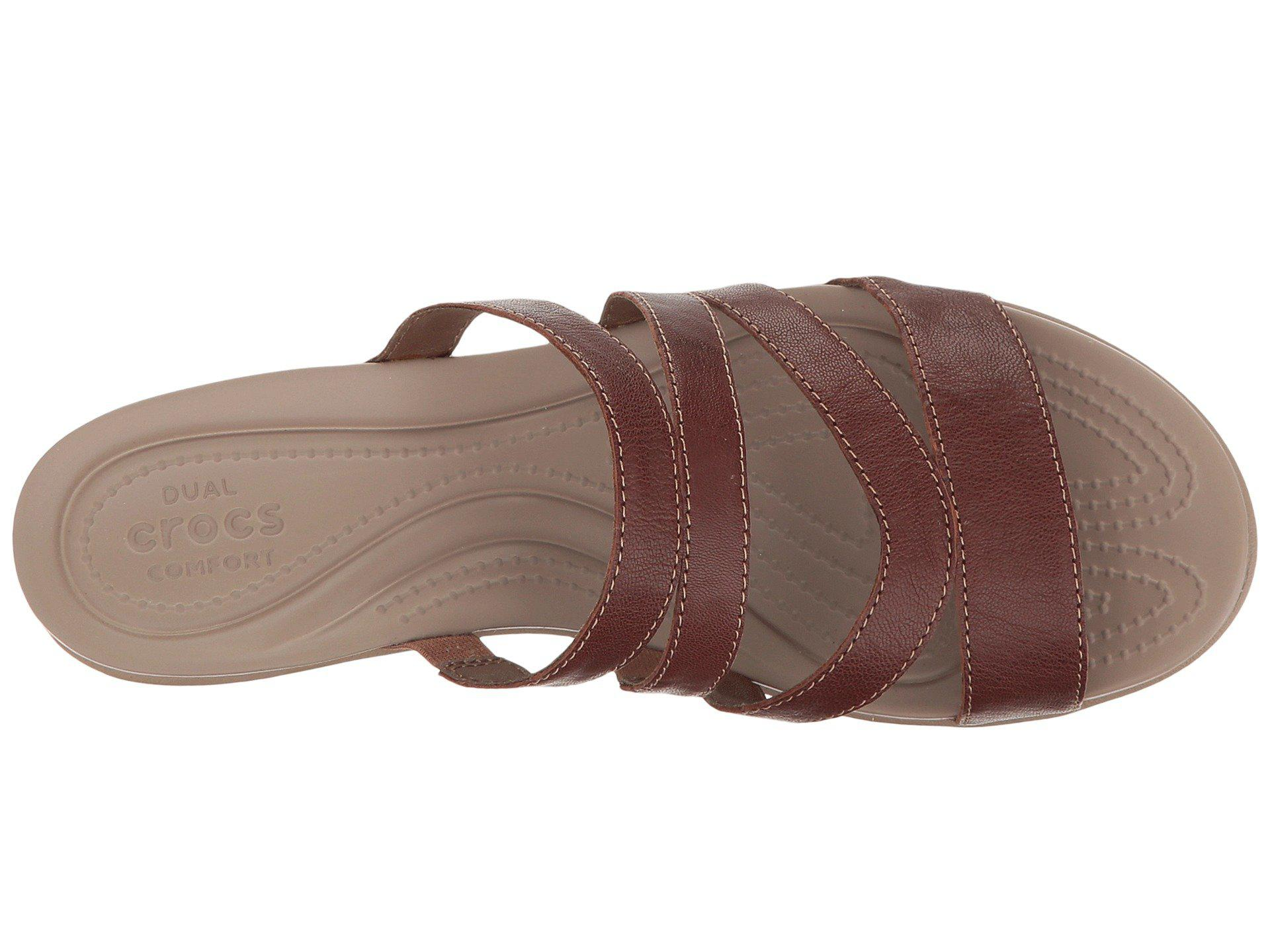 32c41698f56 Lyst - Crocs™ Leigh-ann Mini Wedge Leather in Brown - Save 31%
