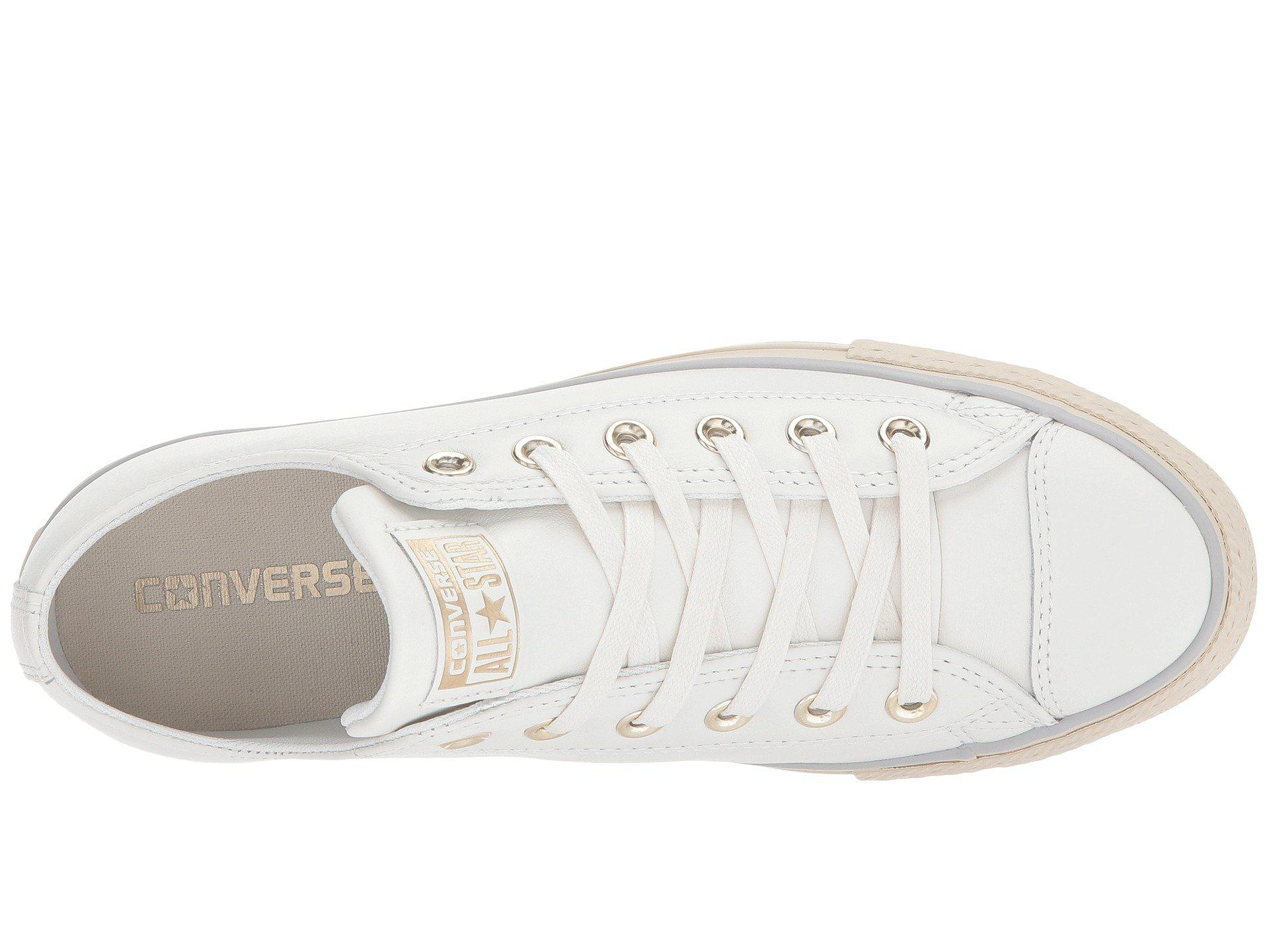 f8166b82750 Lyst - Converse Chuck Taylor® All Star® Platform Leather Ox in White