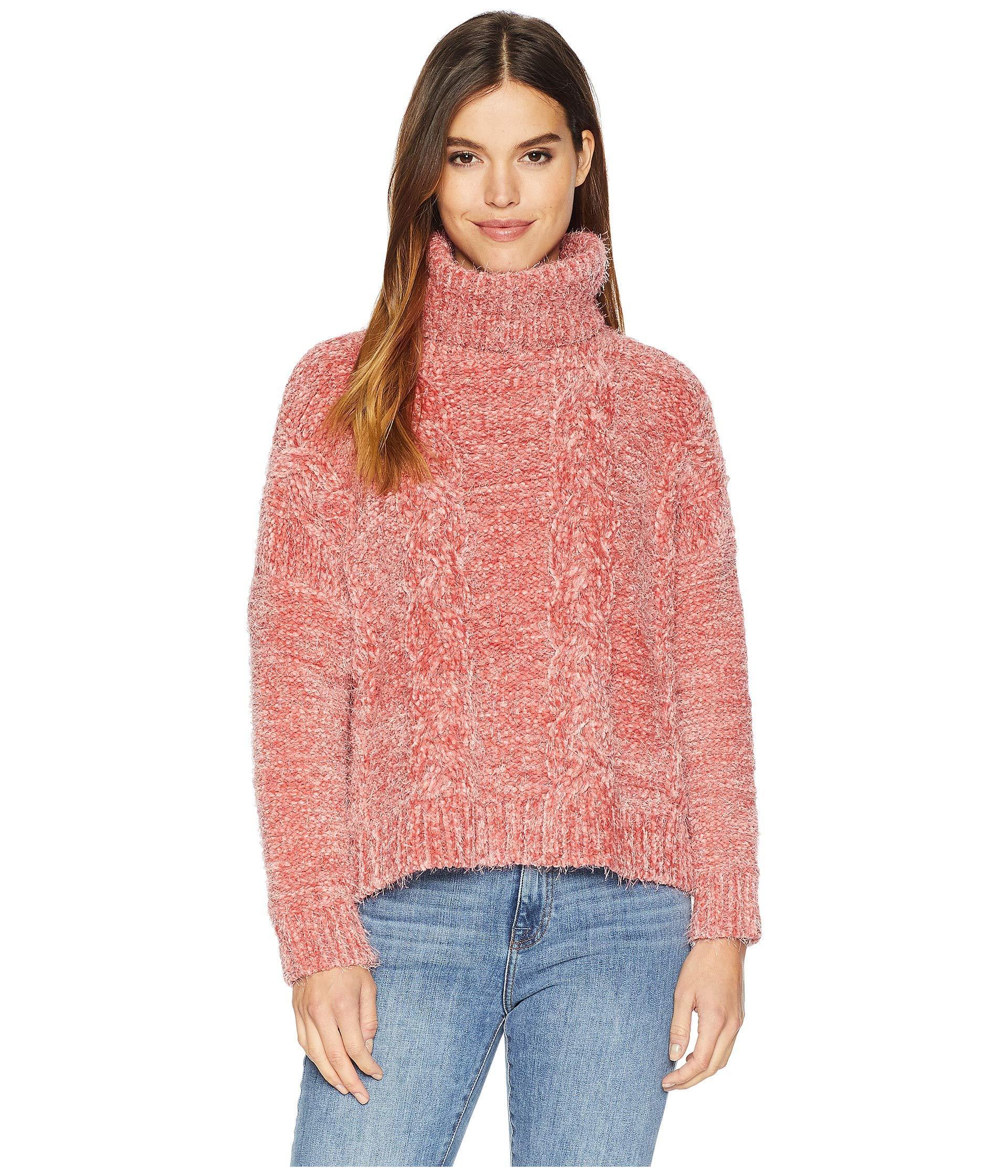 cecfe505e9b Jack BB Dakota. Women s Pink Eyelash Kisses Chenille Cable Knit Sweater