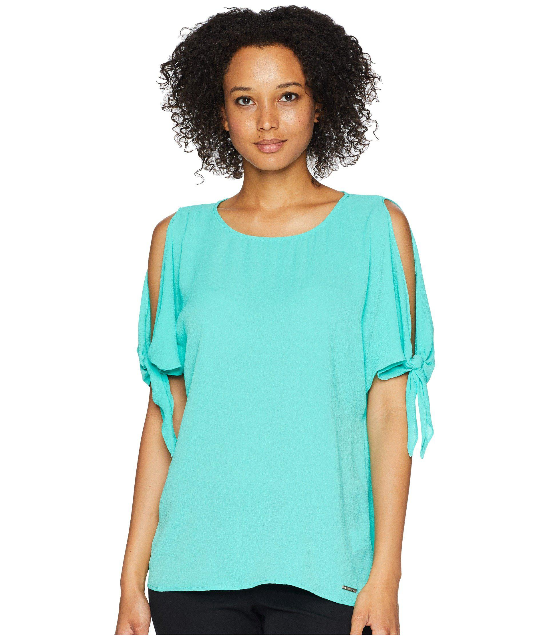031bc212cefa4 Lyst - MICHAEL Michael Kors Cold Shoulder Bow Top in Blue - Save ...