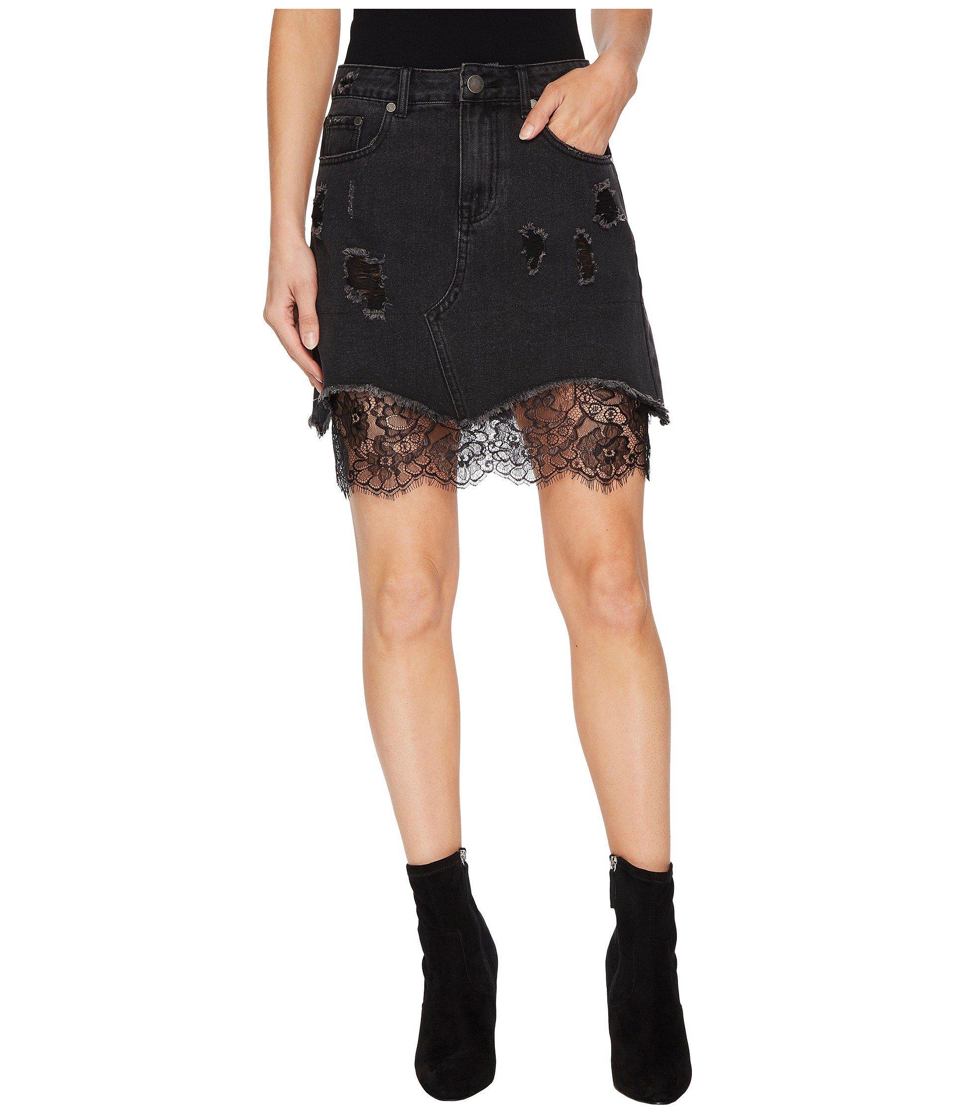 198cc1a58b9e Black Distressed Denim Mini Skirt   Saddha