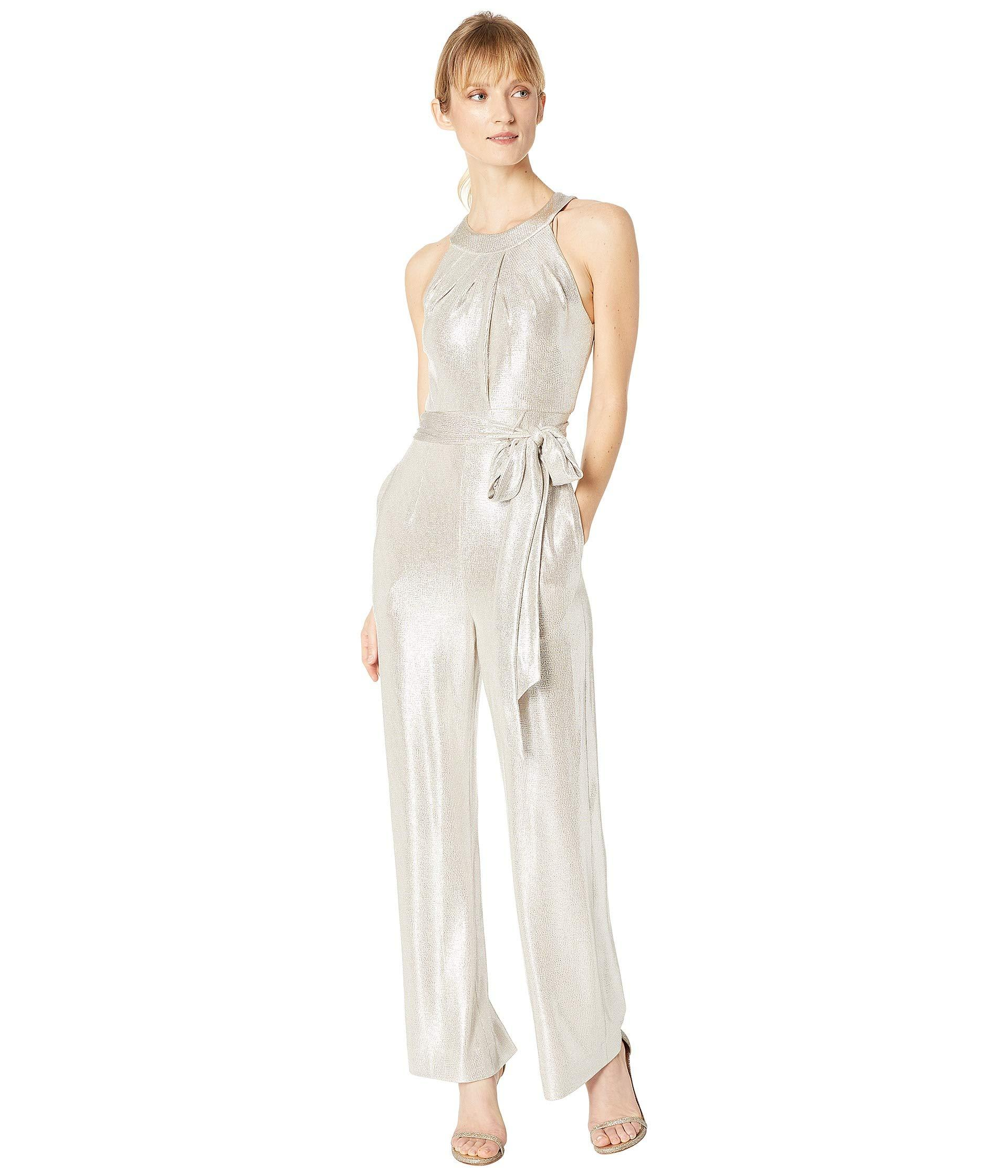 a69de20ca48 Lyst - Tahari Sleeveless Foil Knit Jumpsuit in White - Save 34%