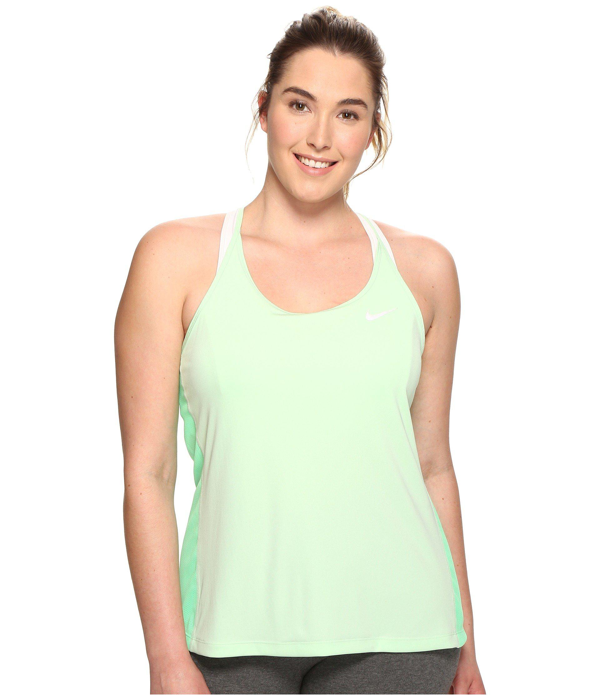 8d7111cda62e93 Lyst - Nike Dry Miler Running Tank (size 1x-3x) in Green - Save 32%