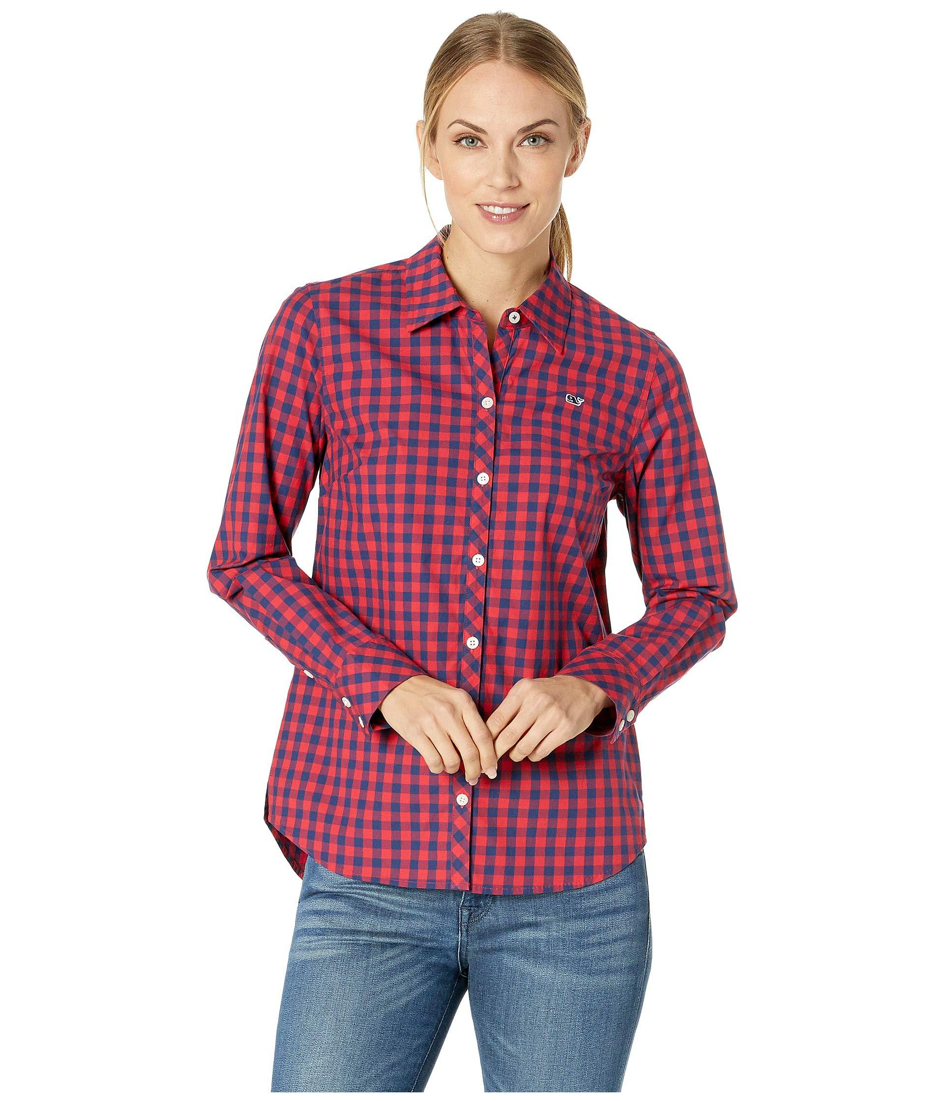43ac8144 Vineyard Vines Mini Gingham Classic Button Down Shirt in Red - Lyst