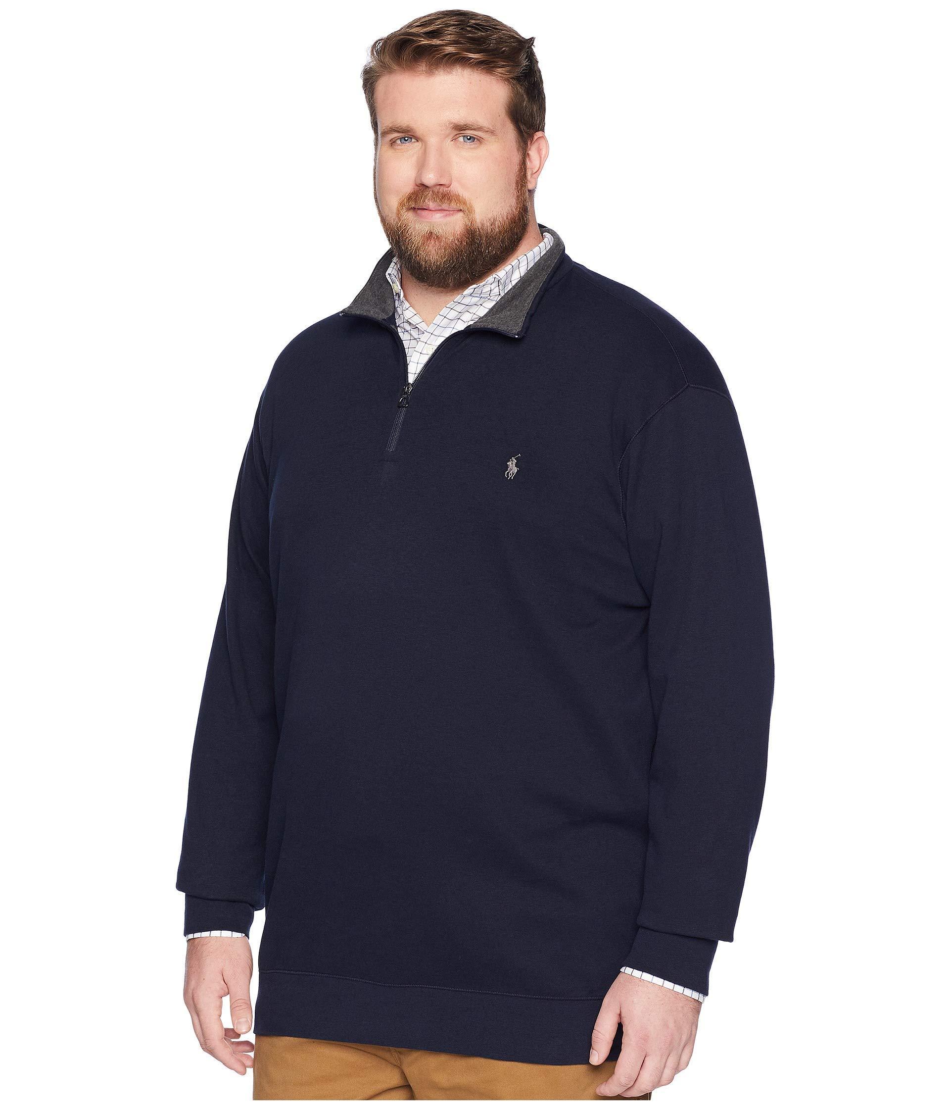 7956d0cb8ed73 Lyst - Polo Ralph Lauren Big   Tall Luxury Jersey 1 2 Zip in Blue for Men