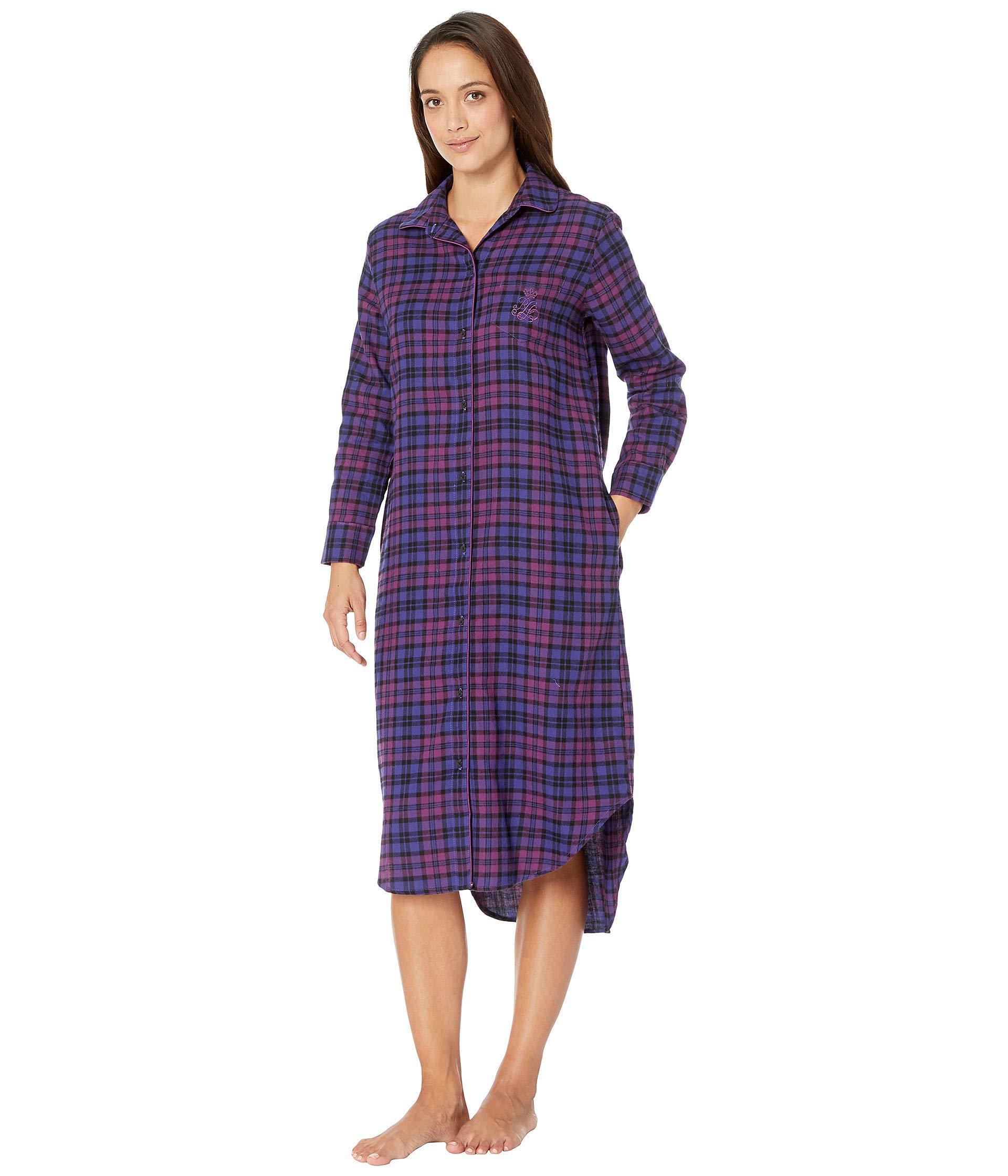 efd394c7f01 Lyst - Lauren by Ralph Lauren Petite Long Sleeve Ballet Length Sleepshirt  in Purple - Save 33.33333333333333%