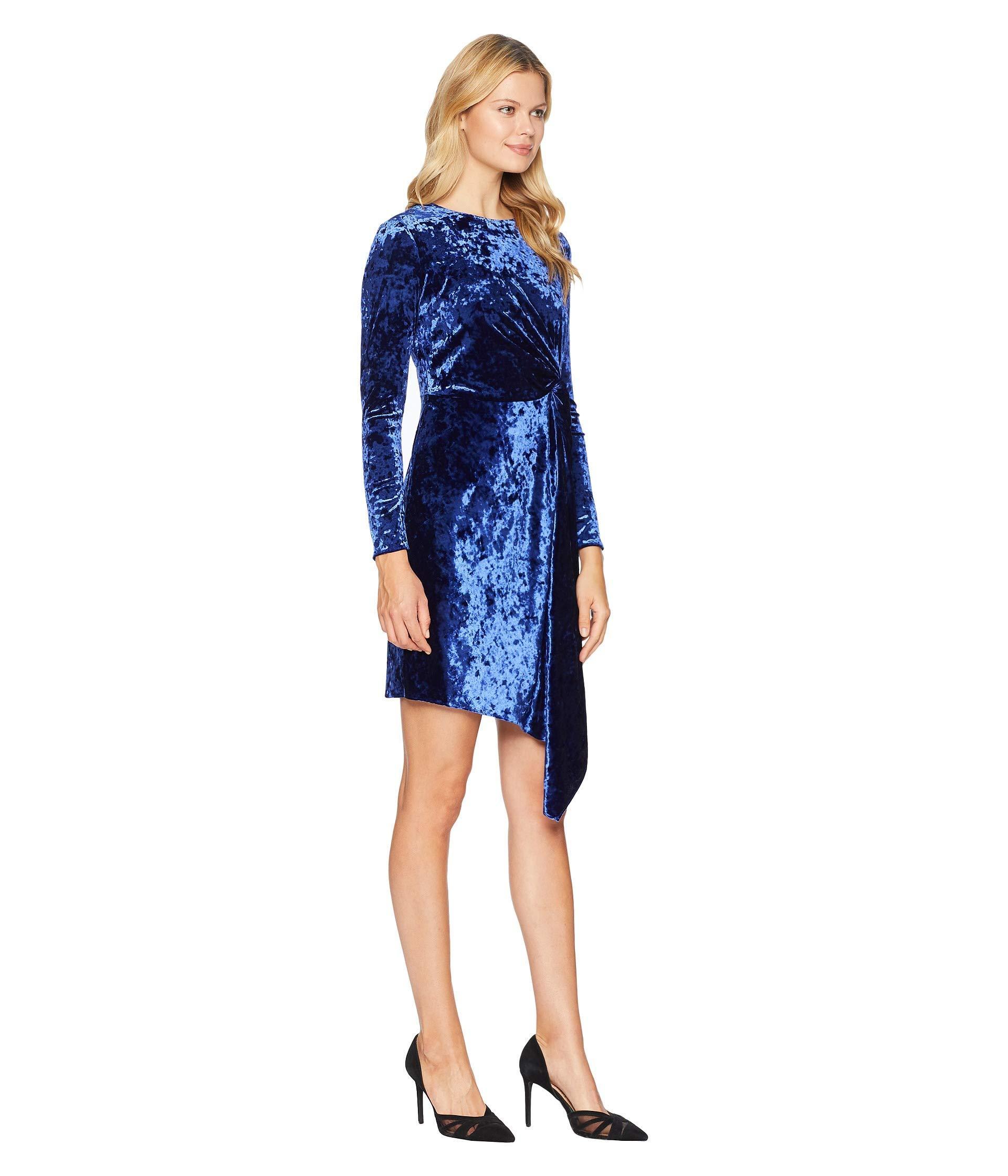 33b58cb69de Maggy London - Blue Crush Velvet Soft Drape Side Dress With Asymmetrical  Hem - Lyst. View fullscreen