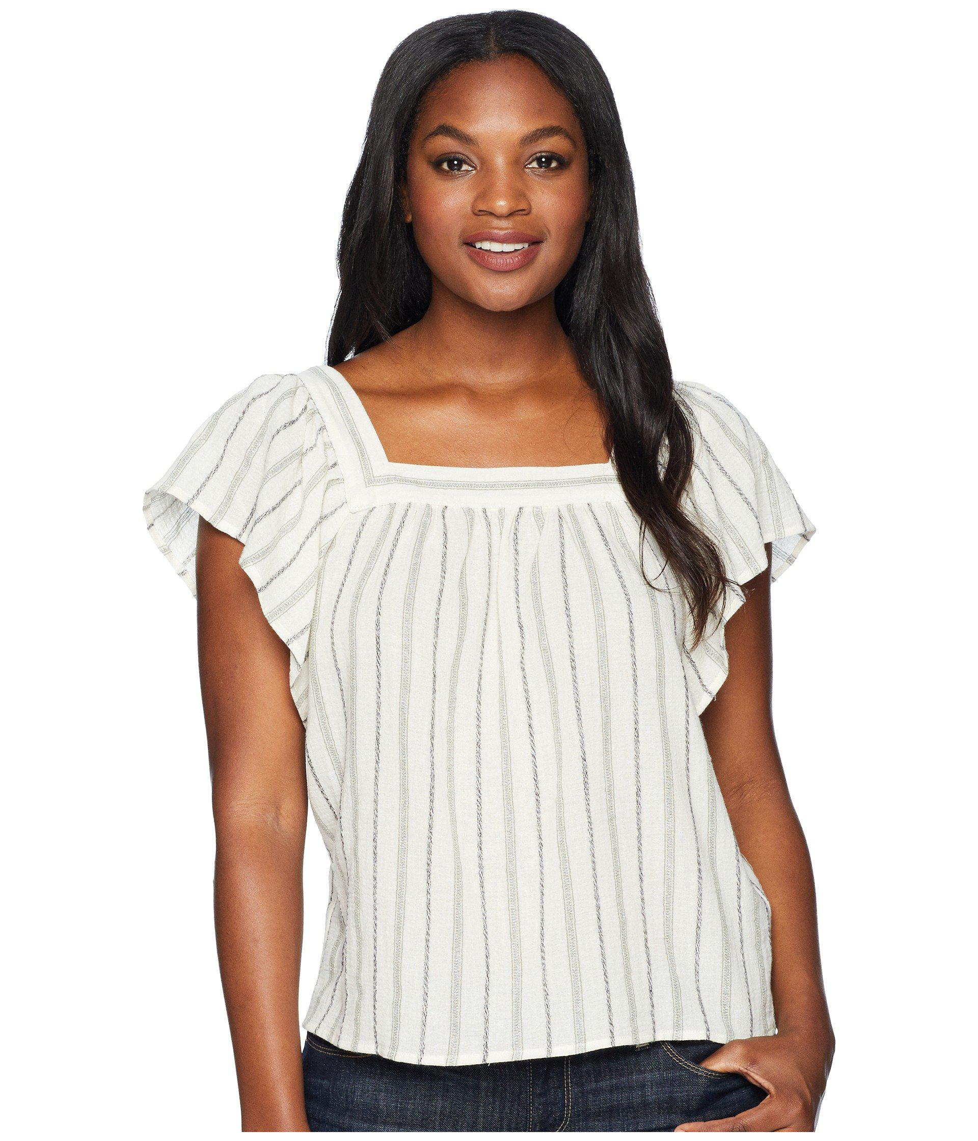 983589d7a14 Two By Vince Camuto. Women s White Metallic Stripe Ruffle Sleeve Blouse