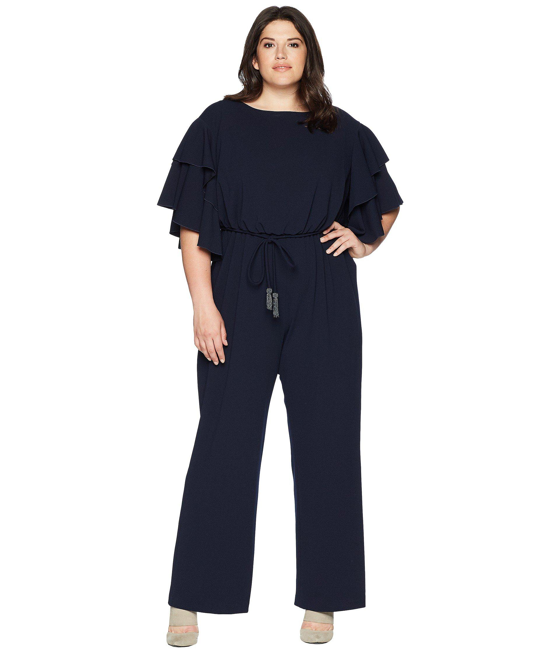 95455d8a2093 Lyst - Adrianna Papell Plus Size Blouson Ruffle Sleeve Jumpsuit in ...