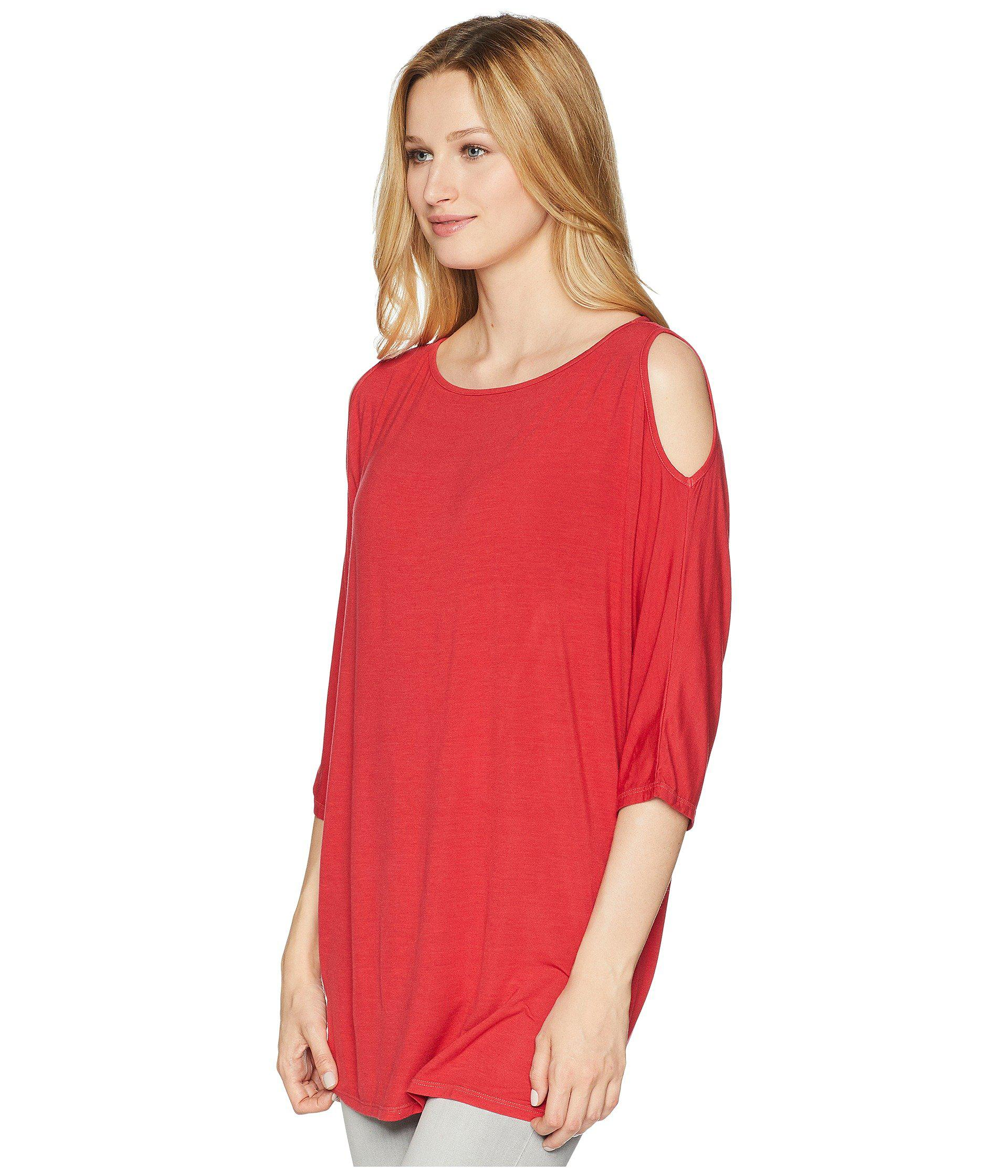 e450443fcbf82 Lyst - Michael Stars Lycra Jersey 3 4 Sleeve Cold Shoulder Tunic in Red -  Save 20%
