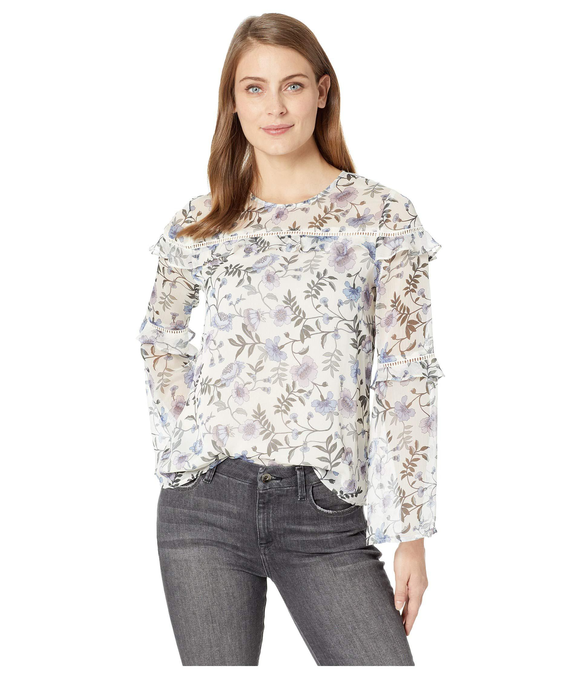 286738140f6 Lyst - Cece Long Sleeve Tiered Ruffle Bloomsbury Floral Blouse in ...