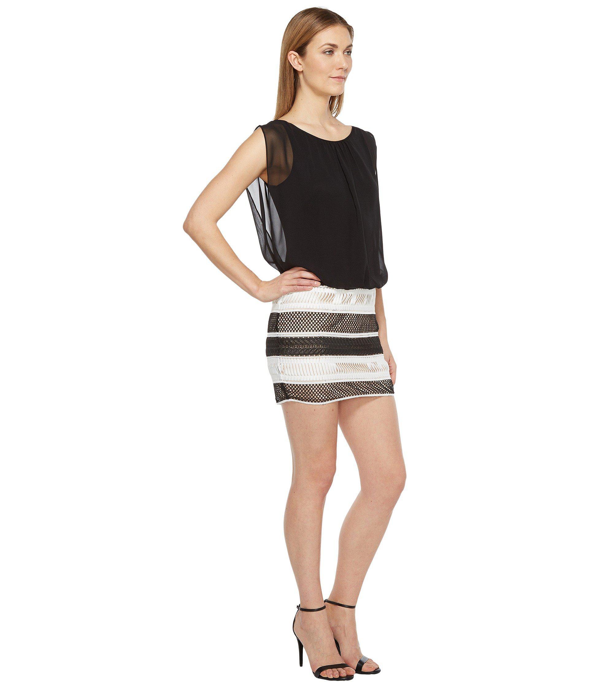 febd38446ac Lyst - Aidan Mattox Lace And Chiffon Blouson Dress in Black