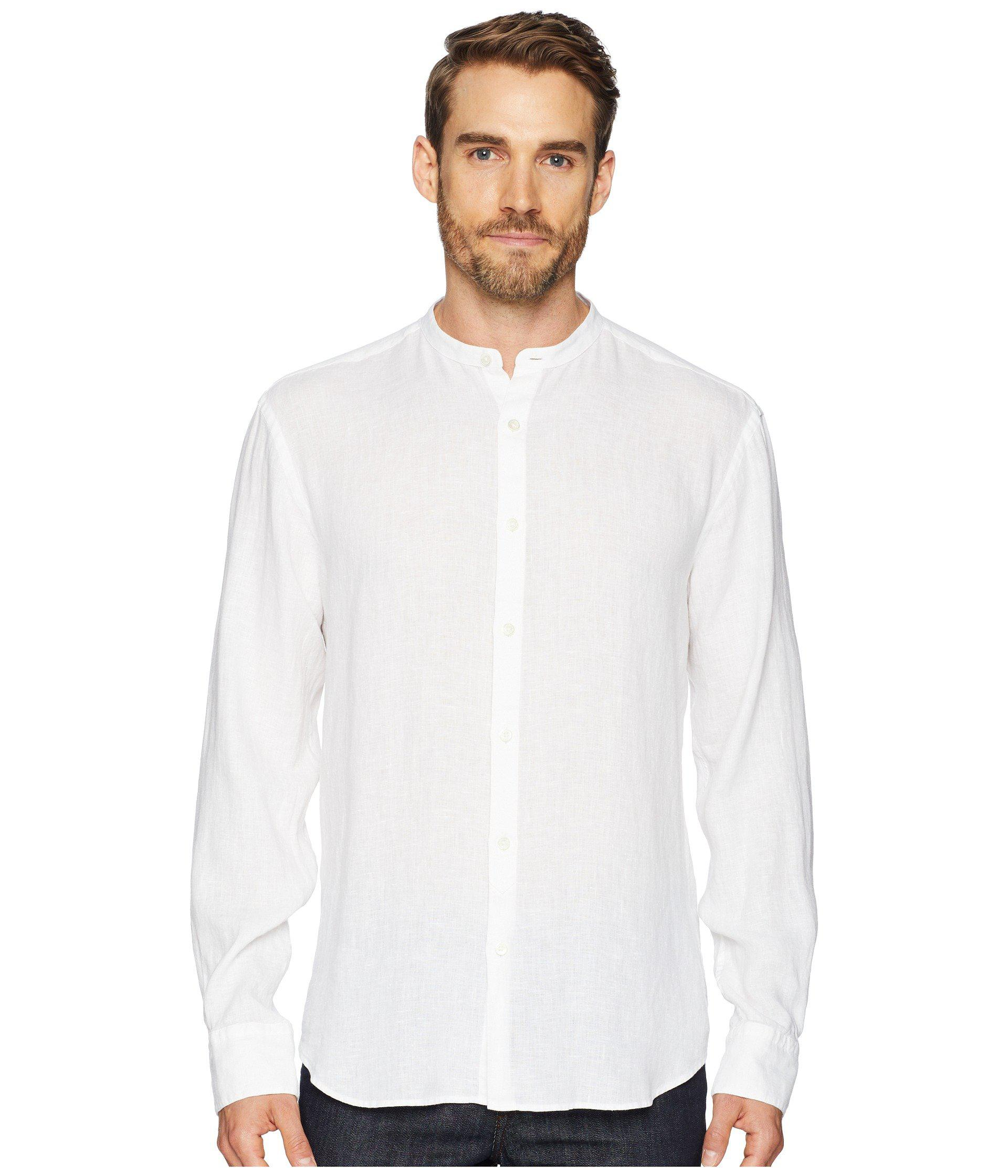 377e1ec6f57f21 Bugatchi - White Shaped Fit Band Collar Linen Shirt for Men - Lyst. View  fullscreen