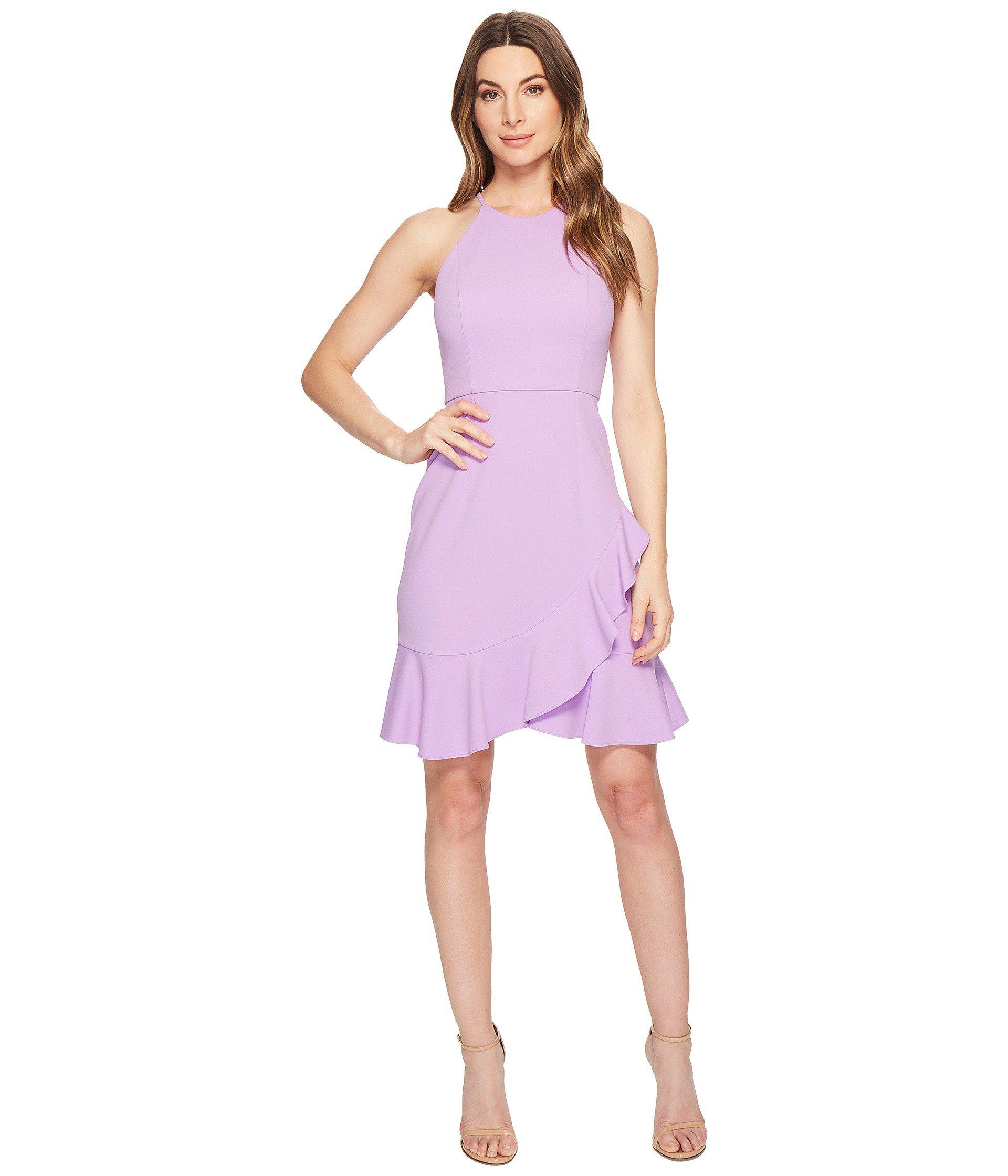 Donna Morgan Women S Purple Crepe Halter Dress